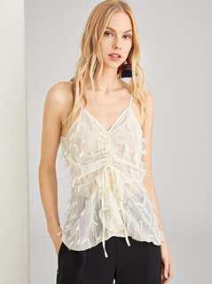 Fringe Embellished Cami Crop Top