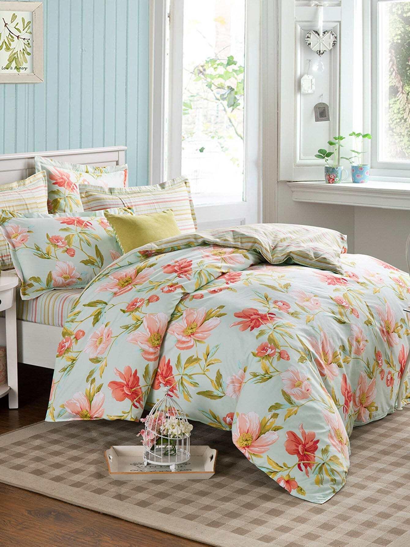Bettbezug 1PC mit Blumen und Streifen Muster