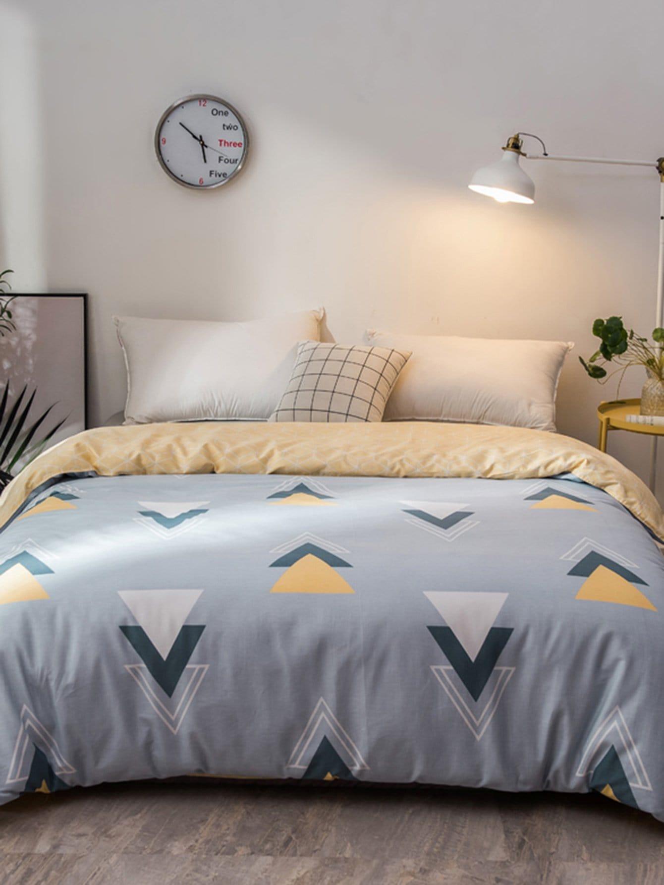 Купить Бархатное постельное бельё с рисунками геометрических фигур 1 шт, null, SheIn