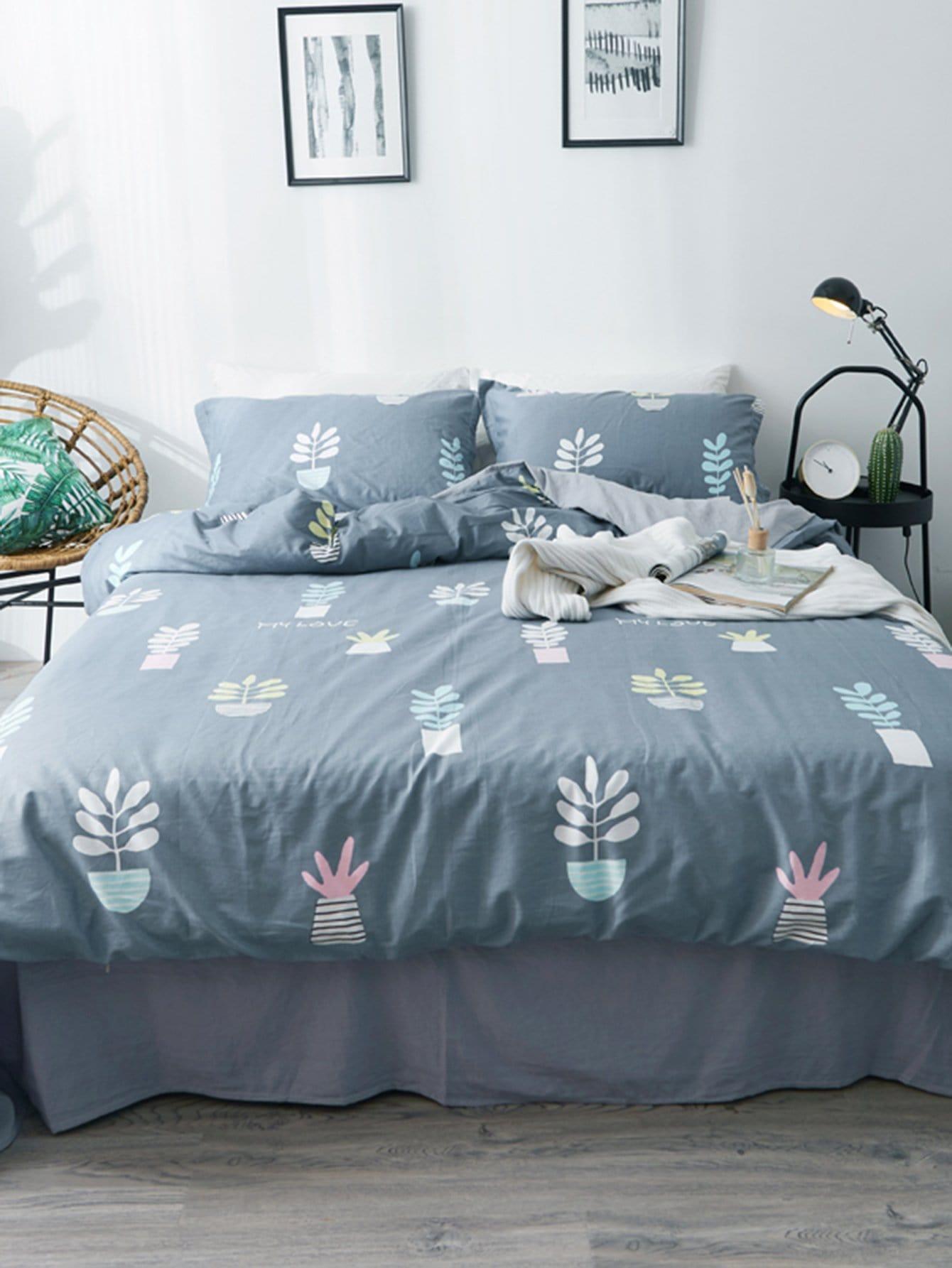 Купить Комплект постельного белья с рисунками растений, null, SheIn