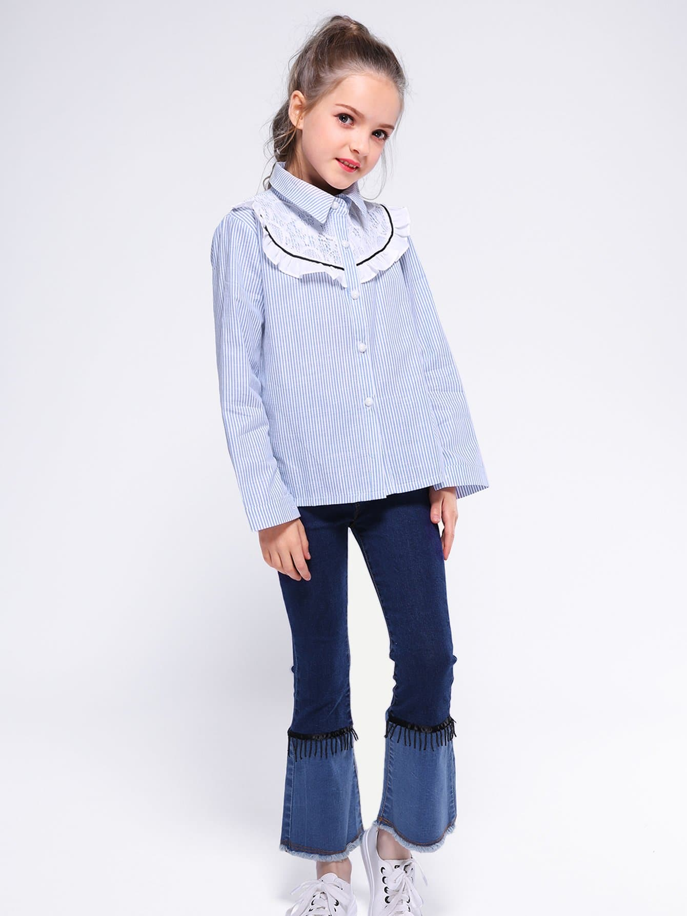Girls Frill Trim Contrast Lace Striped Blouse