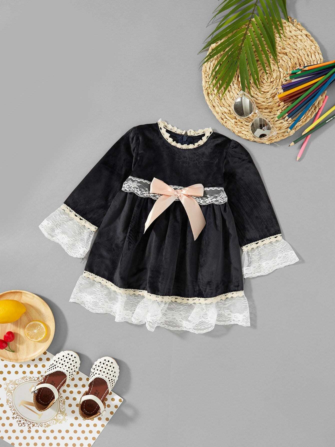 Girls Bow Detail Contrast Lace Dress