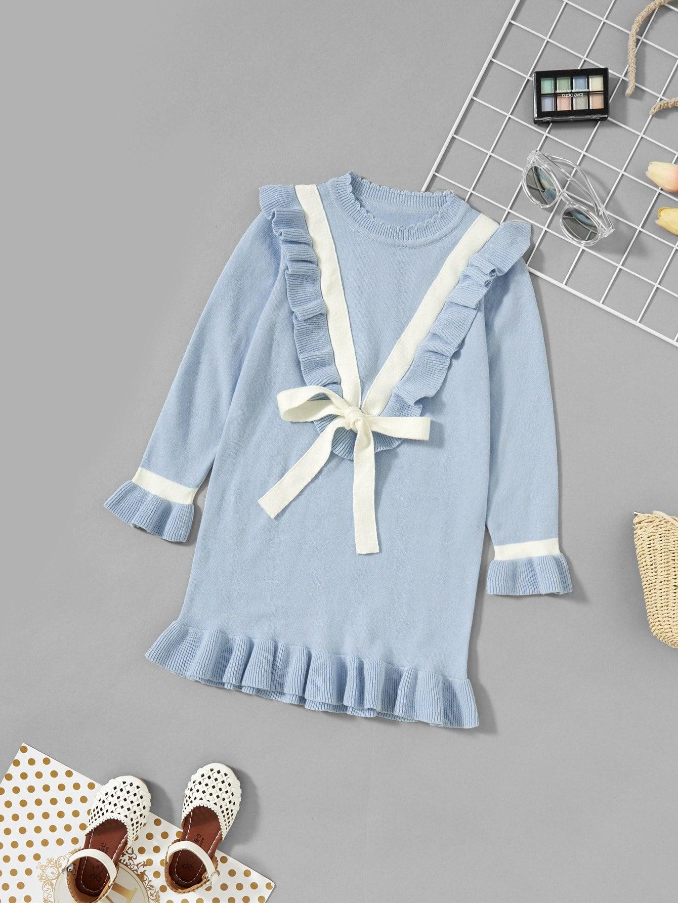 Купить Асимметричное платье фуфайки и с бантом для девочки, null, SheIn