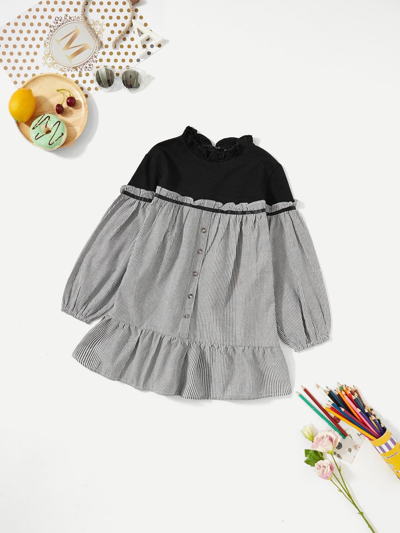 Купить Полосатое платье с кружевными оборками для девочки, null, SheIn