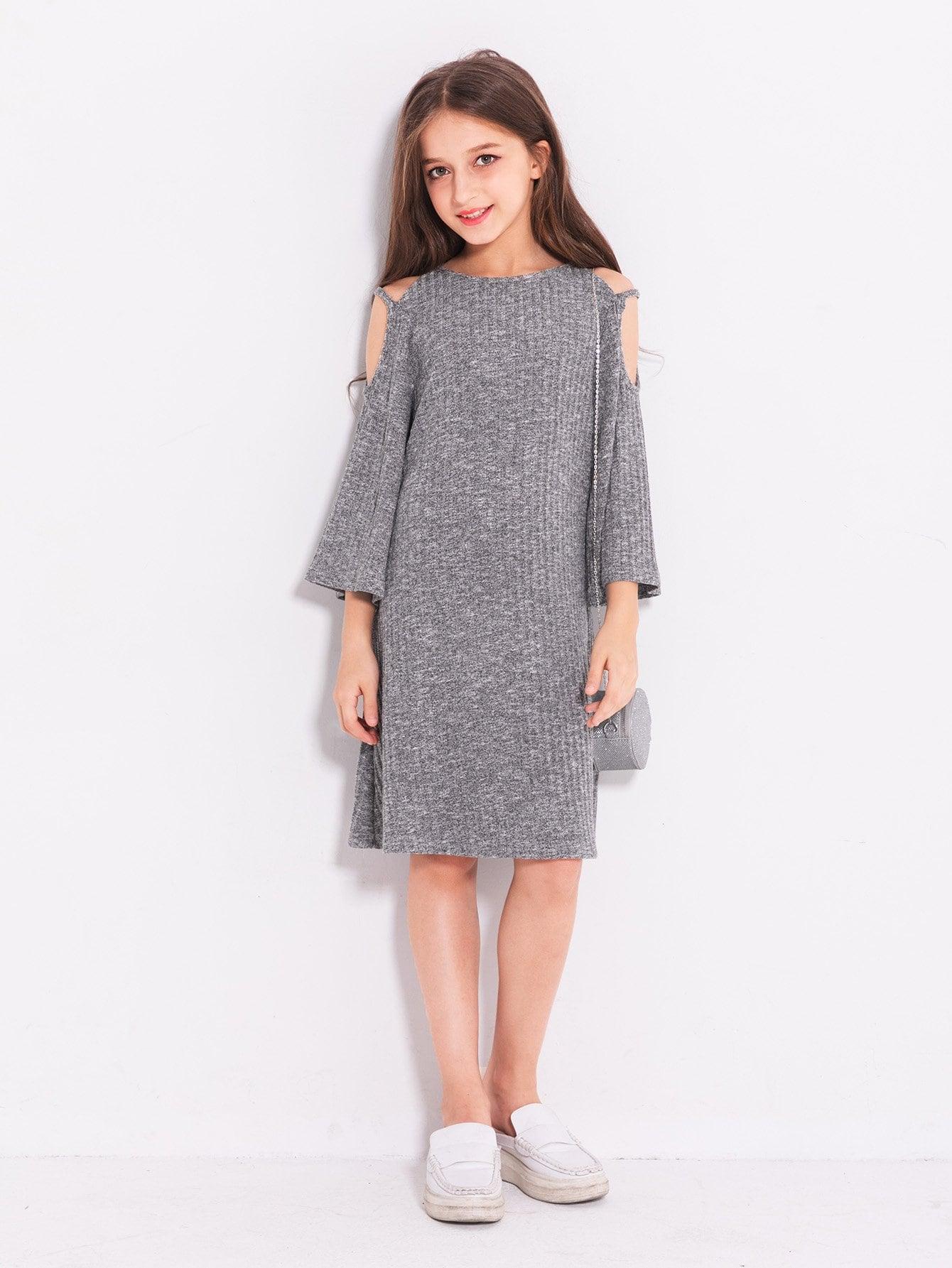 Купить Платье фуфайка с открытыми плечами для девочки, null, SheIn