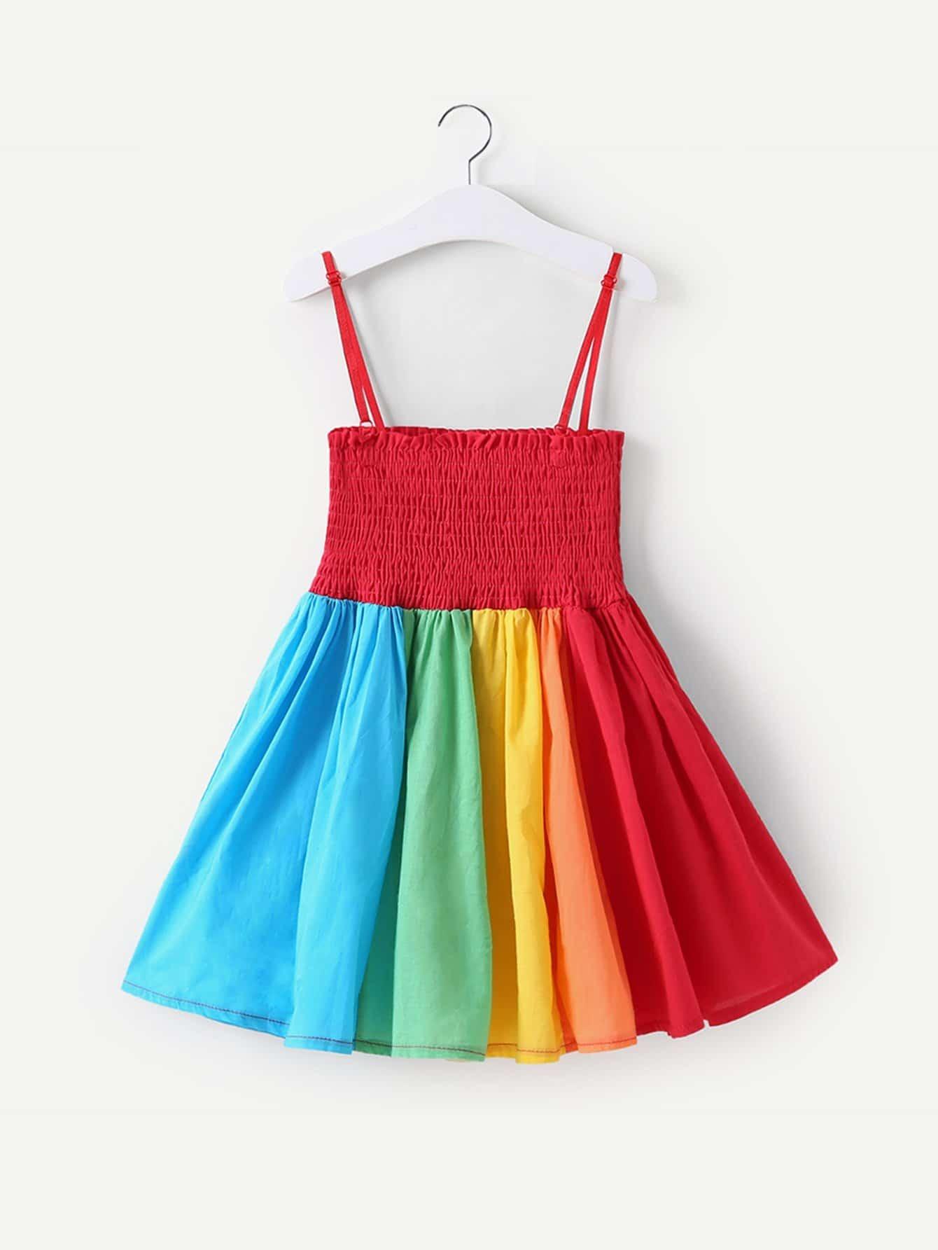 Купить Красочное полосатое платье на бретелях для девочки, null, SheIn