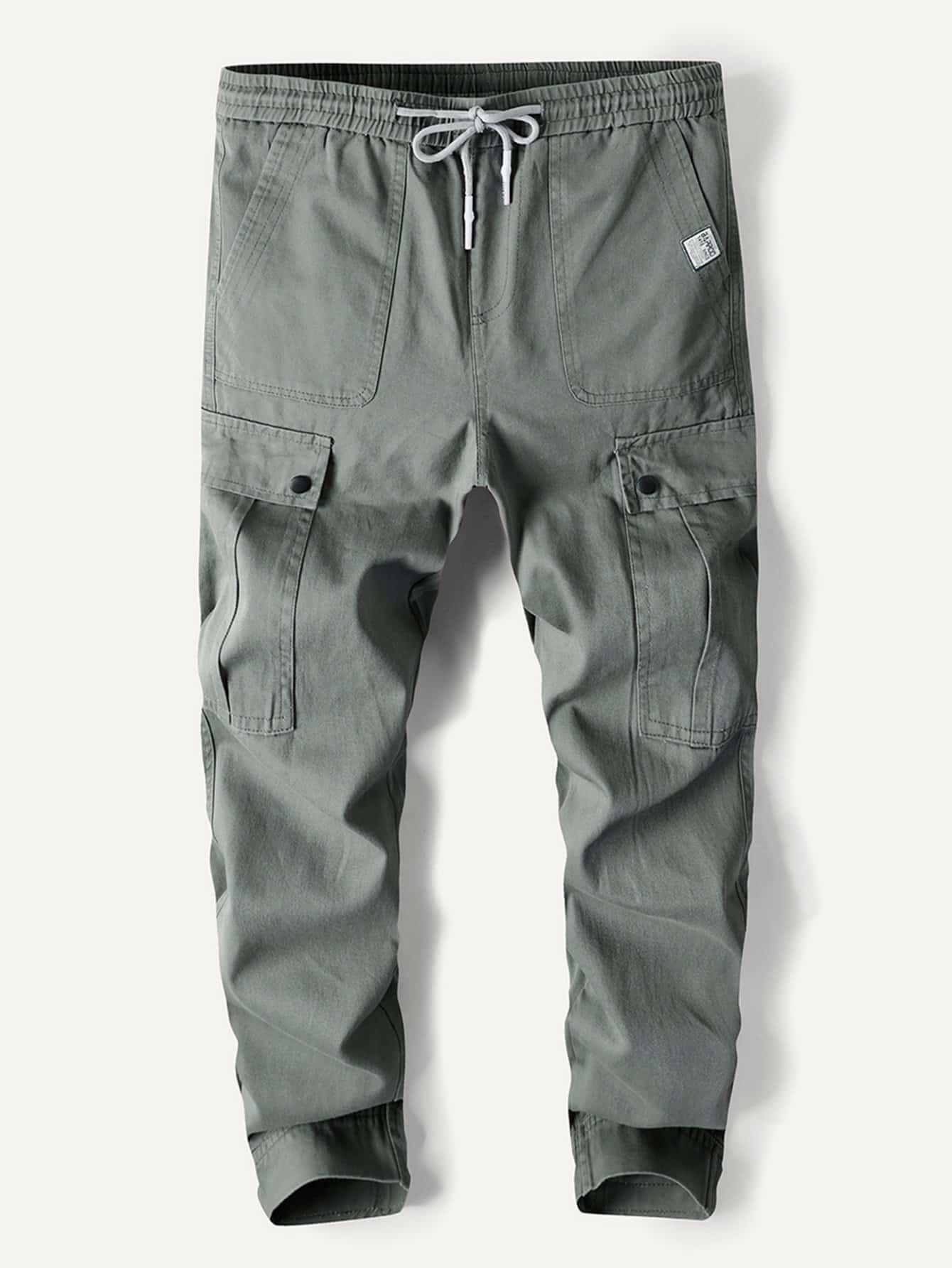 Men Pocket Drawstring Plain Pants