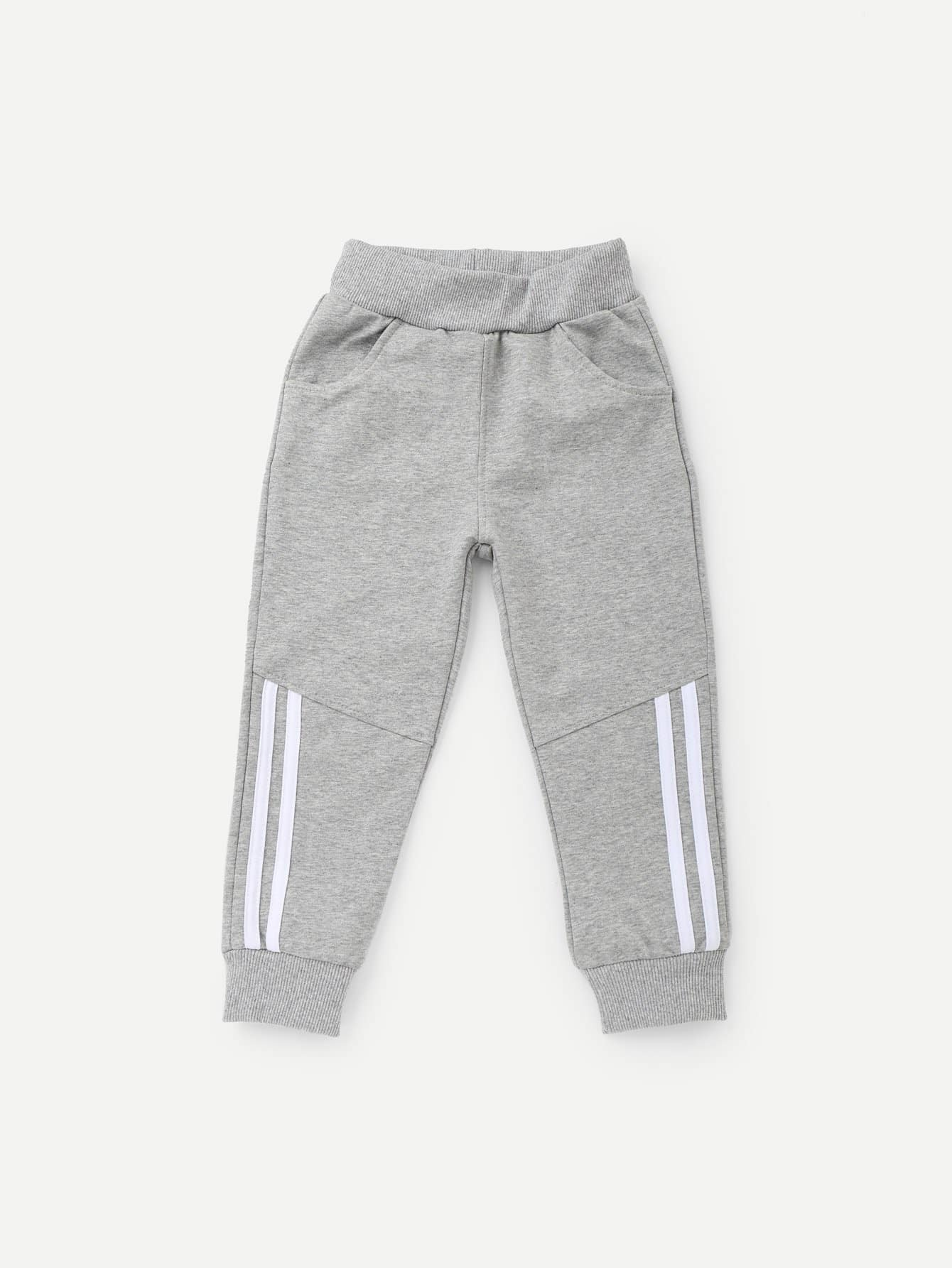 Boys Striped Detail Cut And Sew Panel Pants