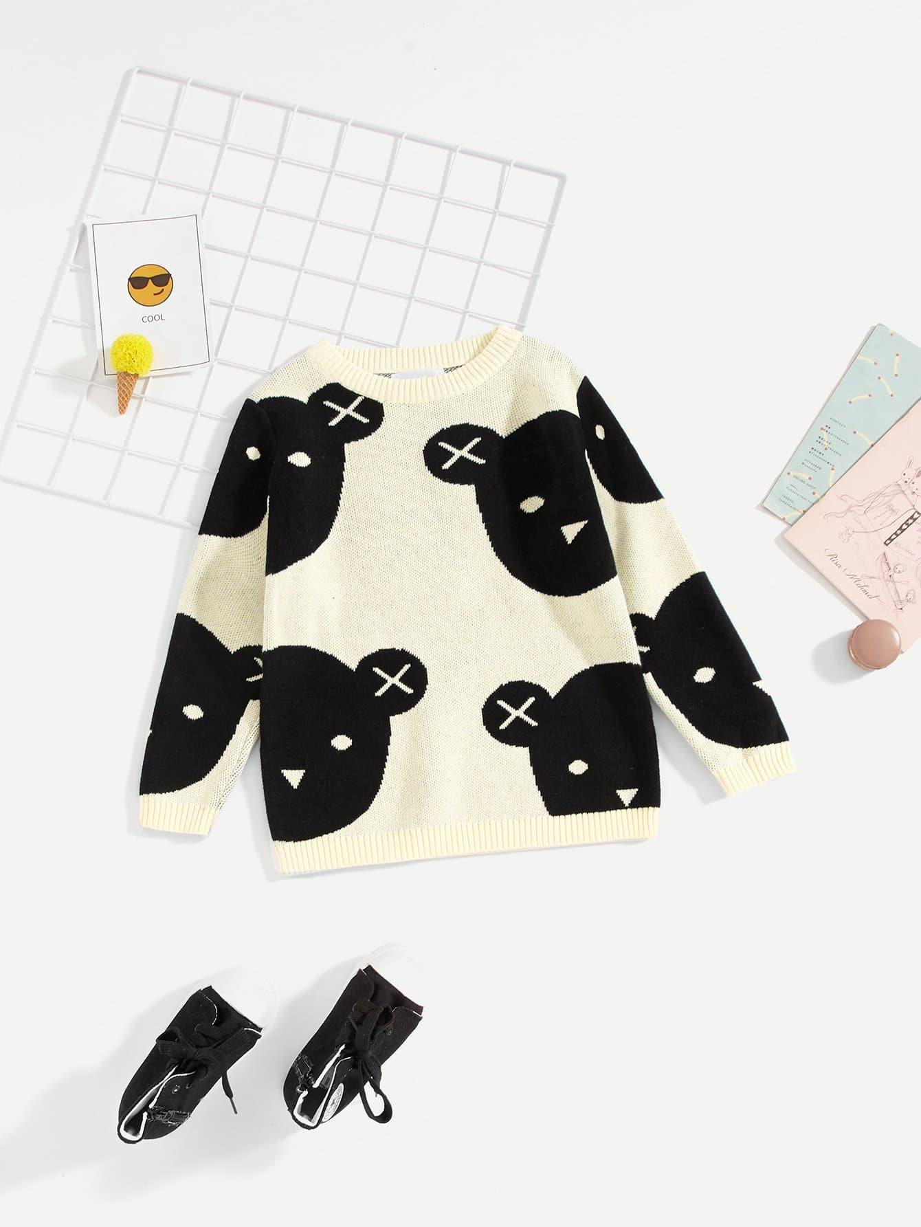Купить Фуфайка с рисунком медведя для девочки, null, SheIn
