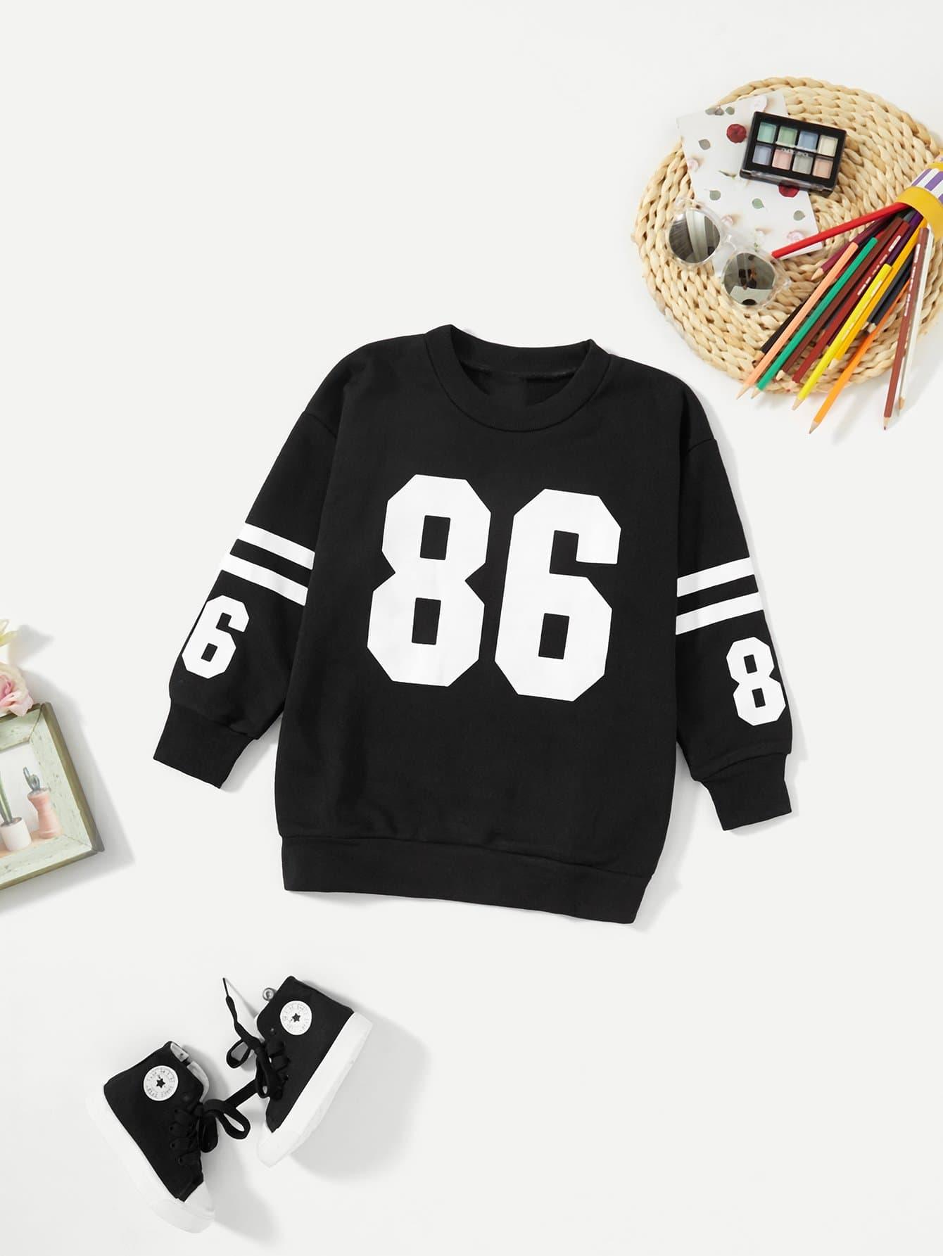 Купить Пуловер с рисунками буквы для девочки, null, SheIn