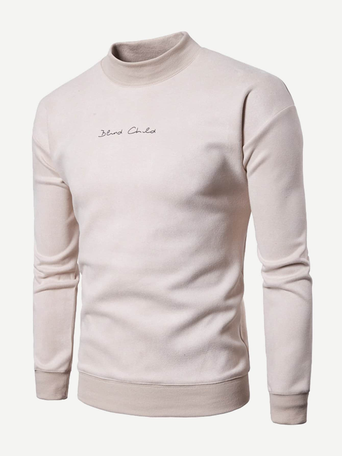 Men Letter Embroidery Plain Sweatshirt