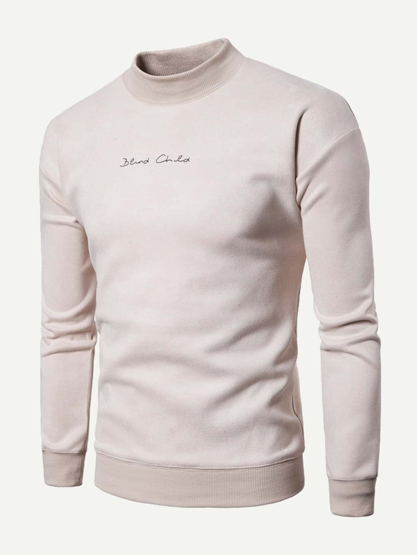 Men Letter Embroidery Plain Sweatshirt men letter embroidery side jeans