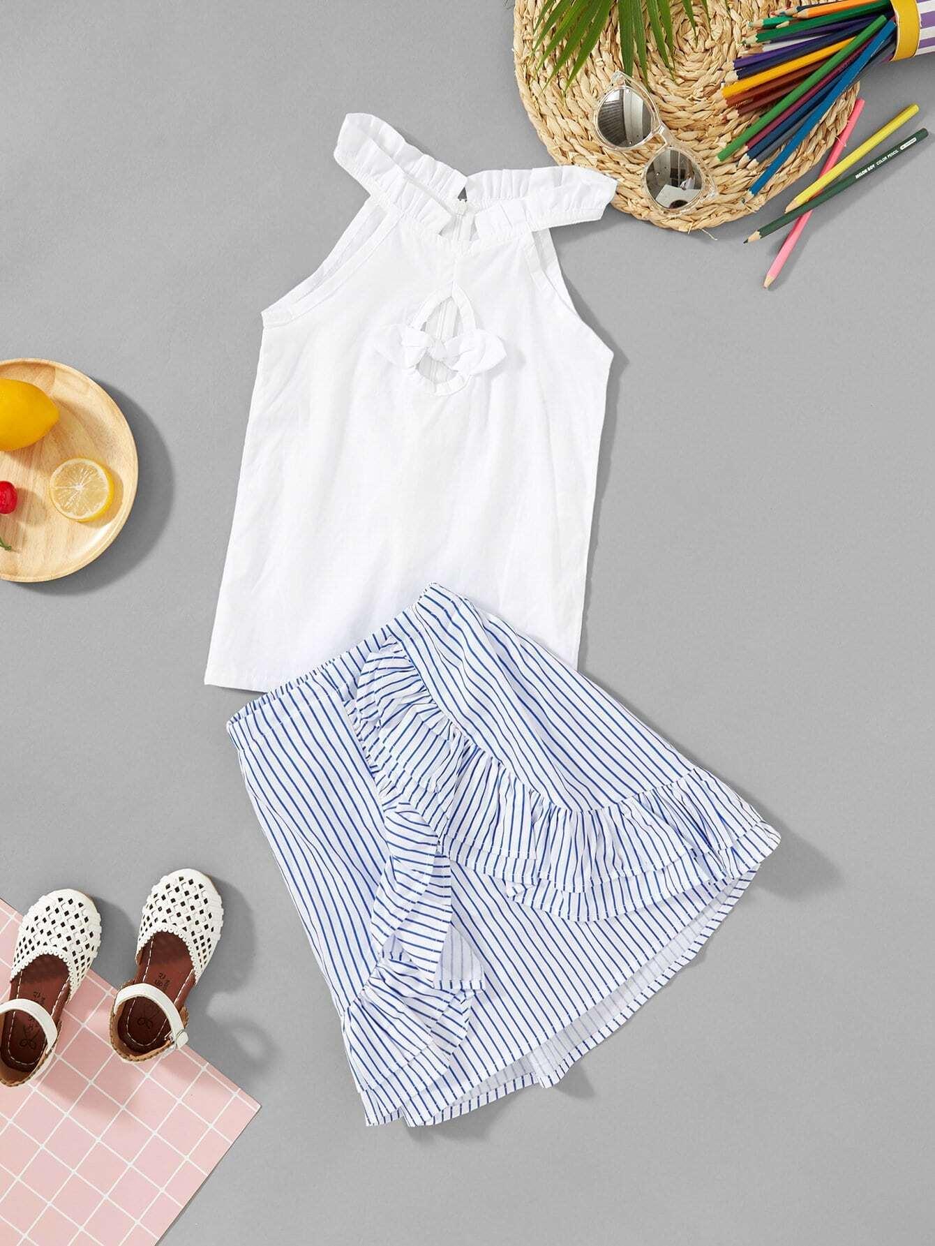 Купить Блузка с кружевными оборками и полосатая юбка для девочки, null, SheIn