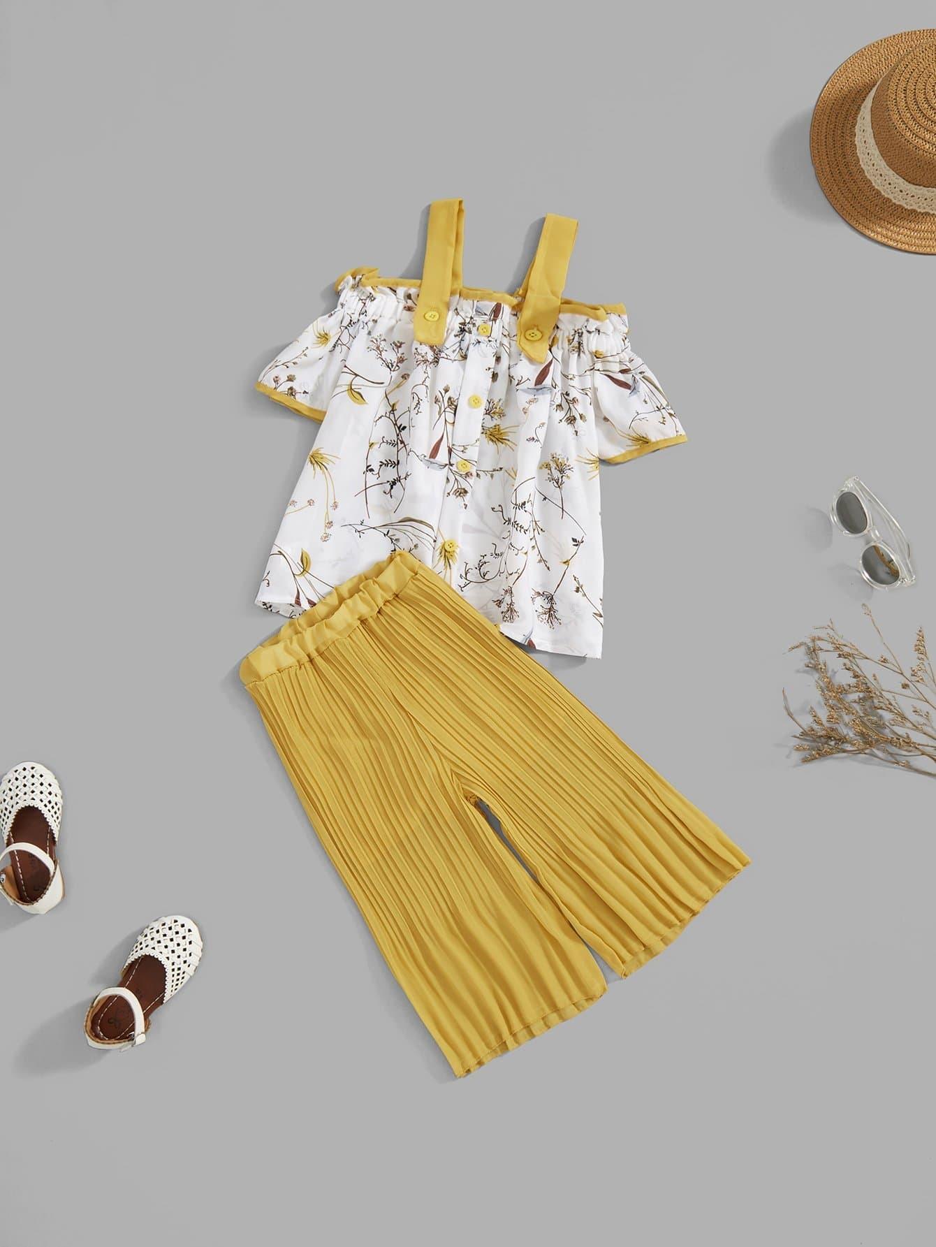 Купить Ситцевая блузка и широкие ножные штаны для девочки, null, SheIn