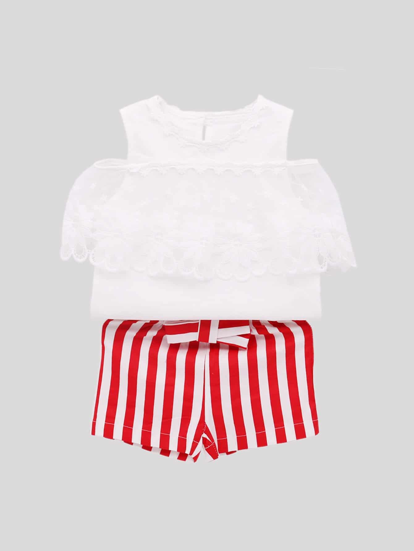 Купить Блузка со симметрическими кружевами и шорты для девочки, null, SheIn