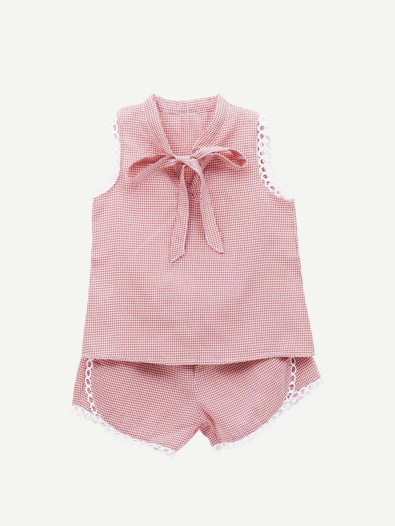Купить Блузка со симметрическими кружевами и с воротником-банта и шорты для девочки, null, SheIn