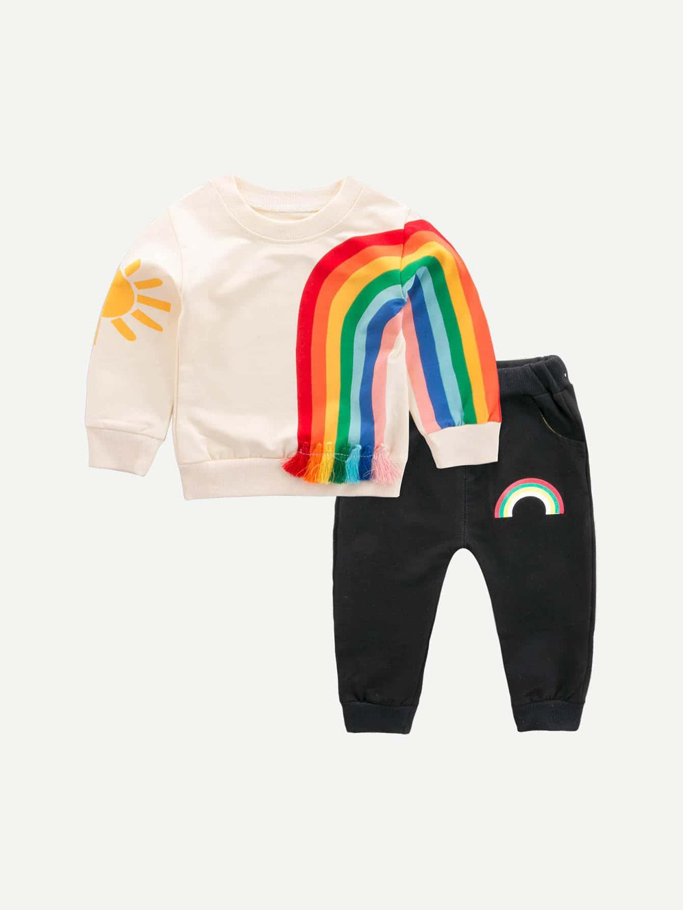 Купить Пуловер с рисунком радуги и брюки для мальчика, null, SheIn