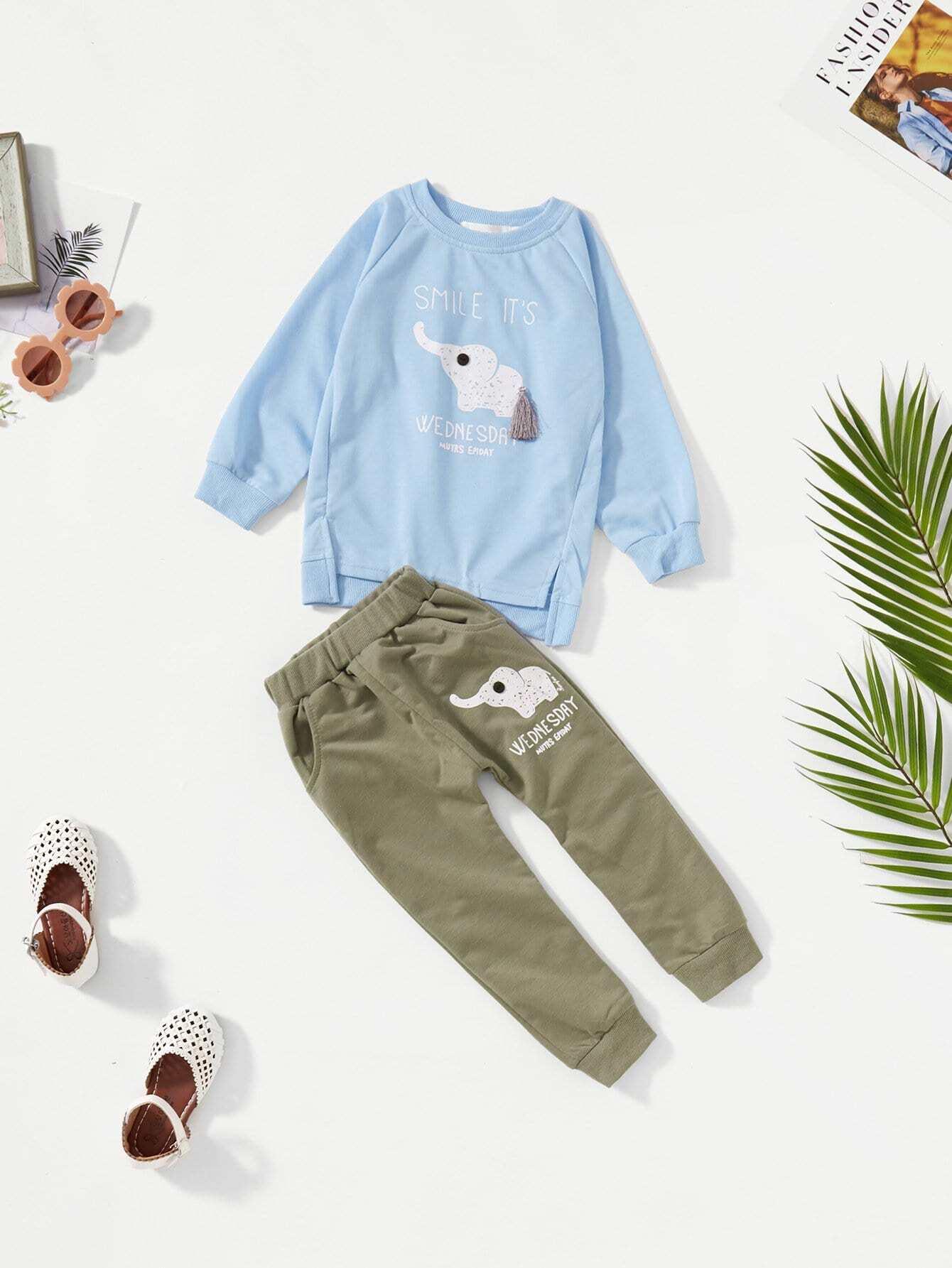 Купить Пуловер с рисунком слона и брюки для мальчика, null, SheIn