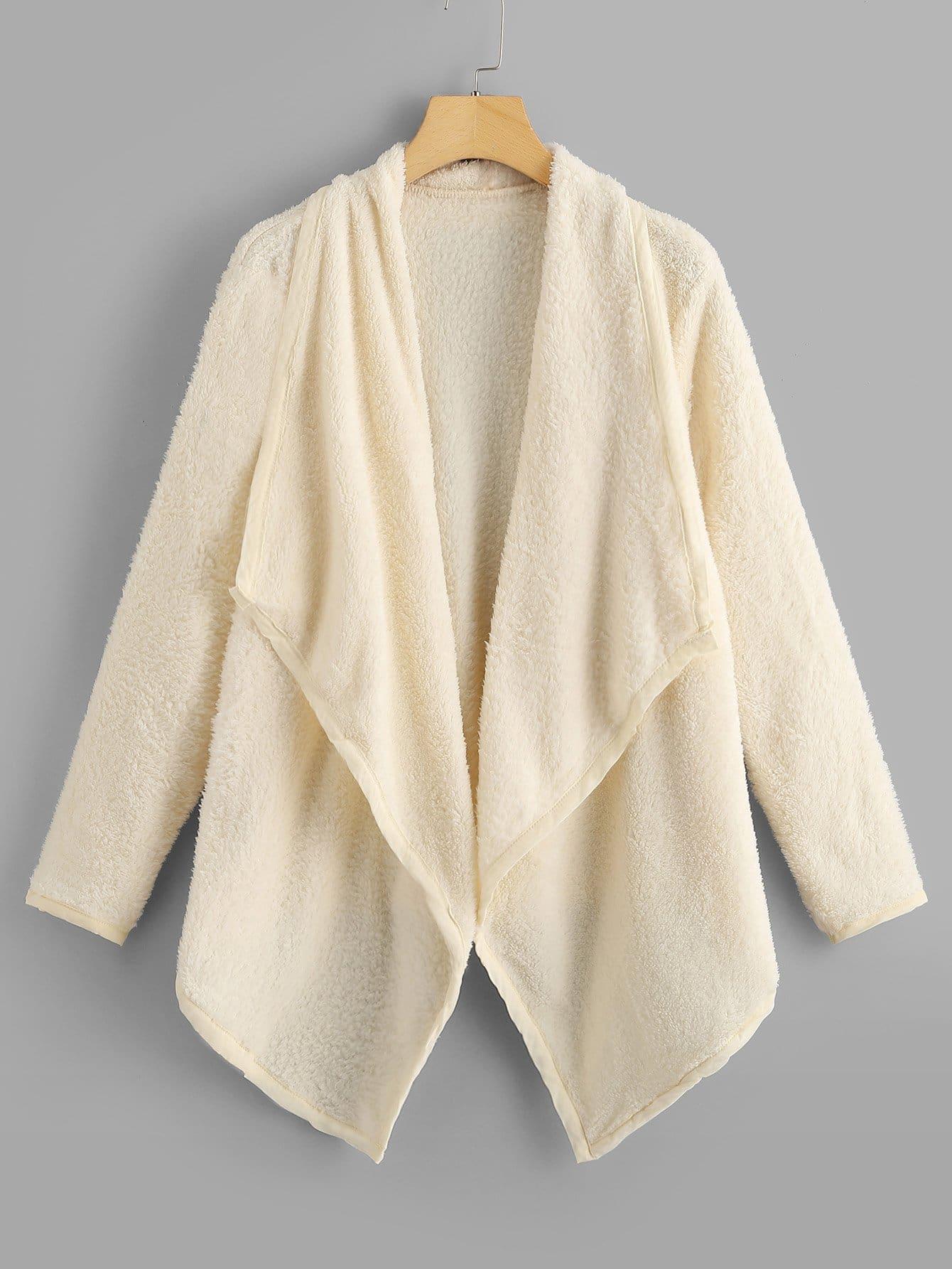 Купить Тедди пальто шерпы с асимметричным низом, null, SheIn