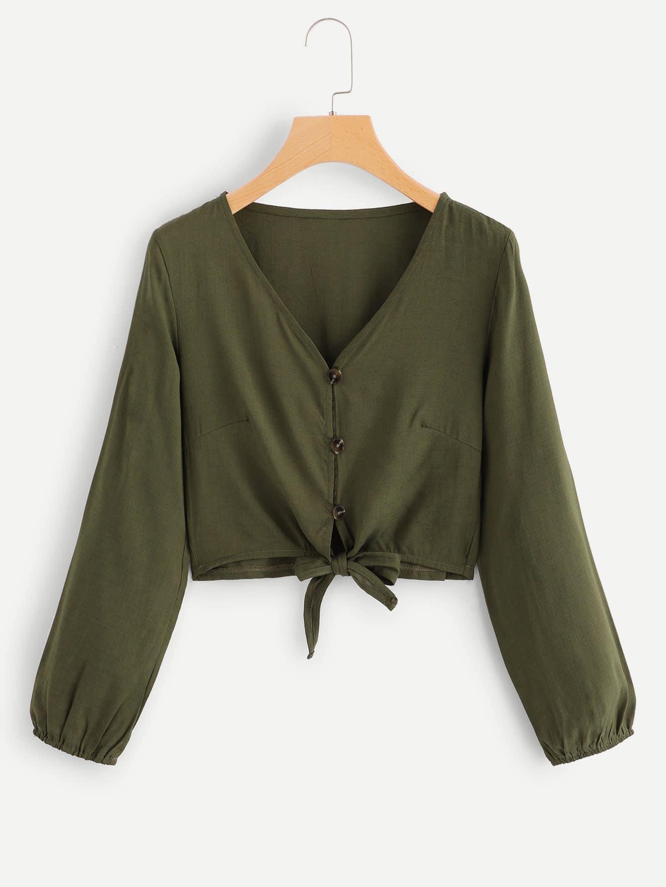 Купить Повседневный Одноцветный Пуговица Цветахаки Блузы+рубашки, null, SheIn