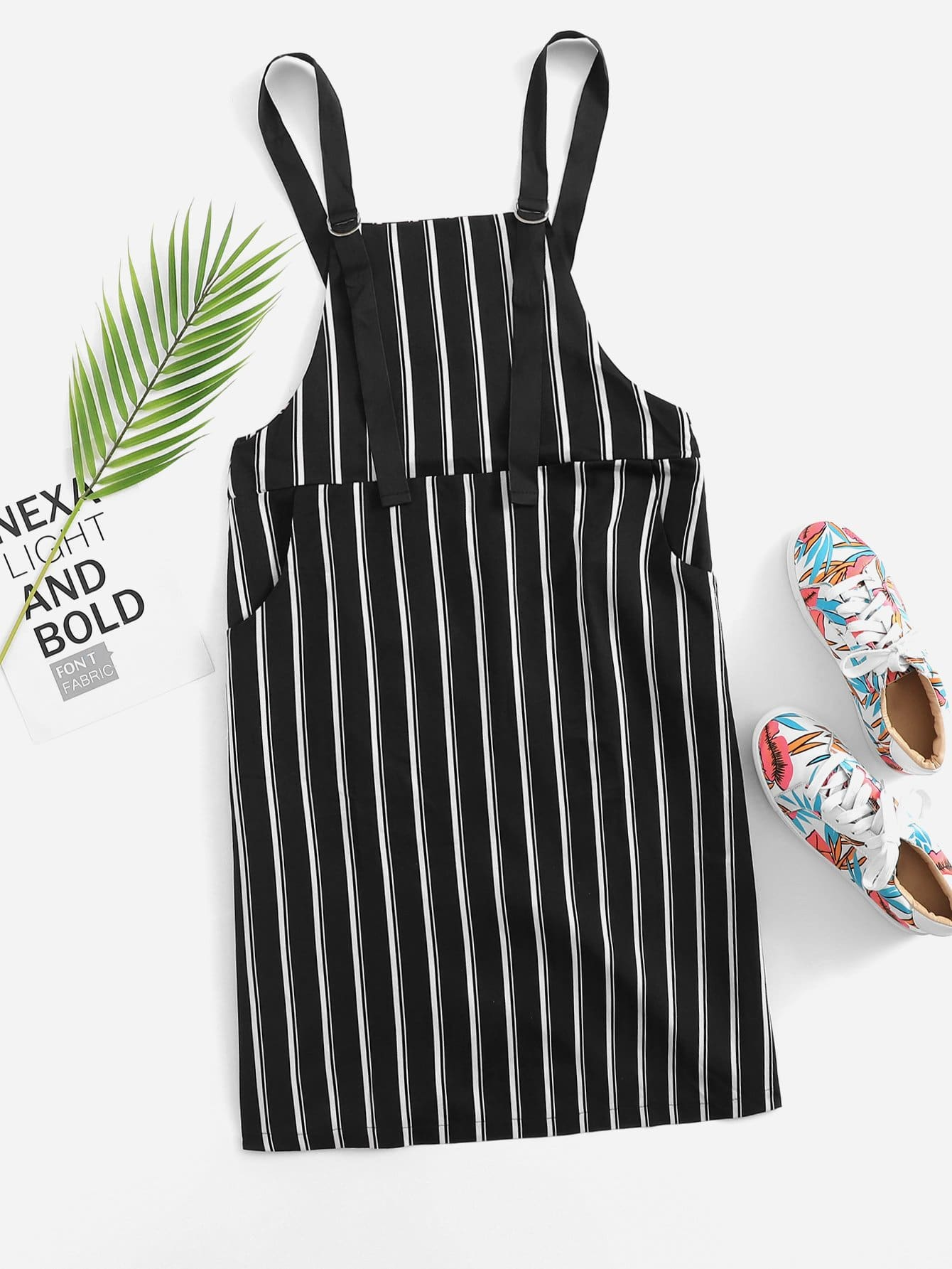 Striped Pocket Side Pinafore Dress