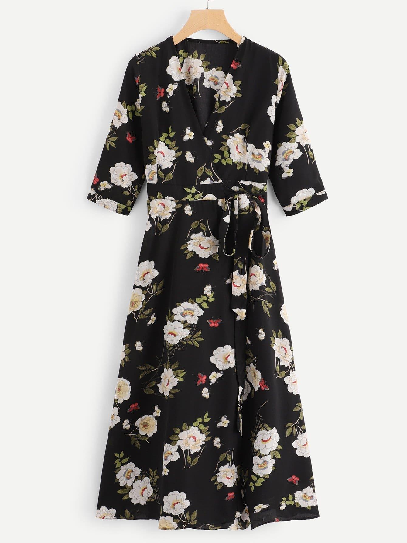 Surplice Front Floral Print Dress