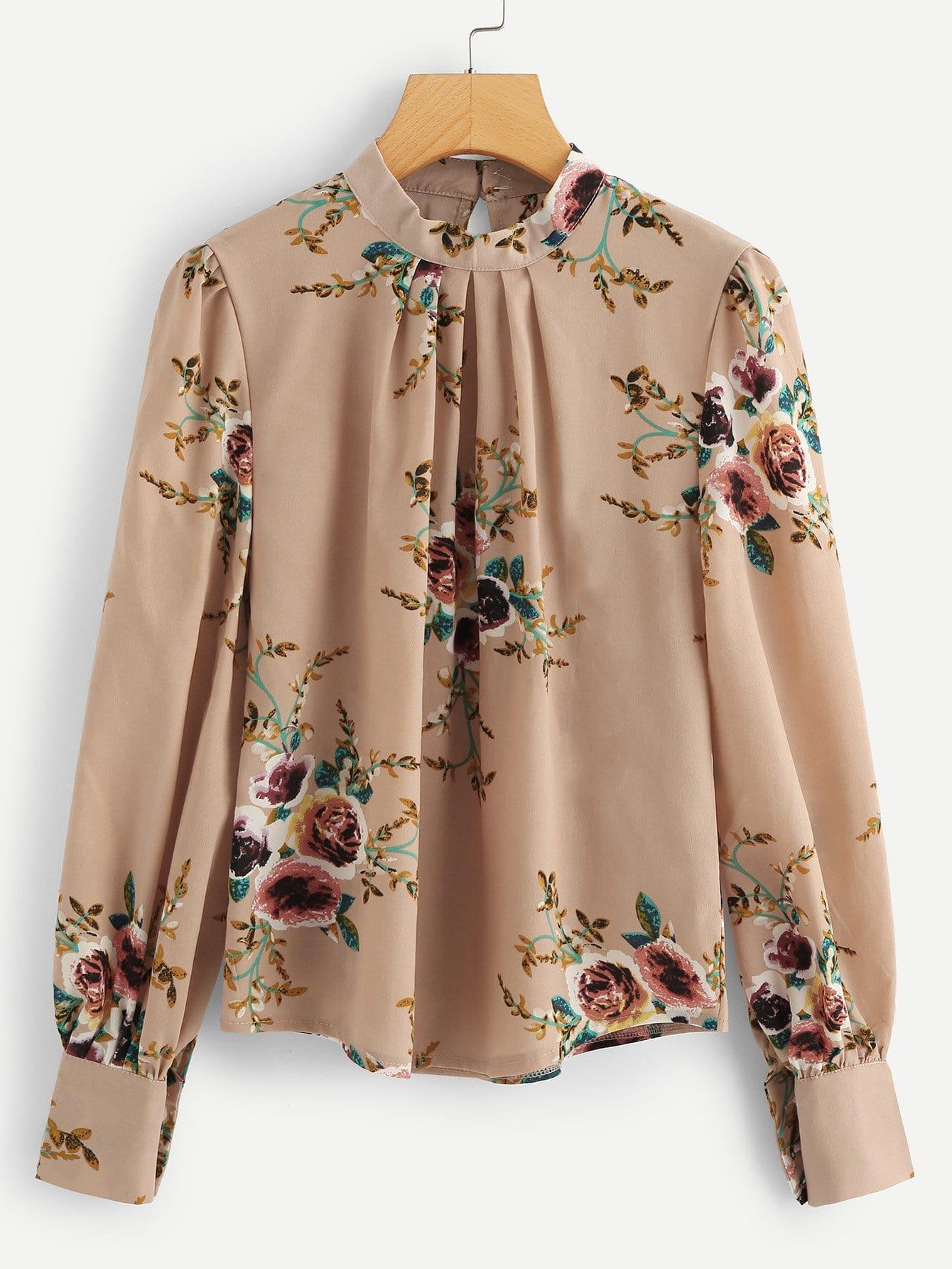Купить Ситцевая рубашка с рукавами присборенный у манжета, null, SheIn