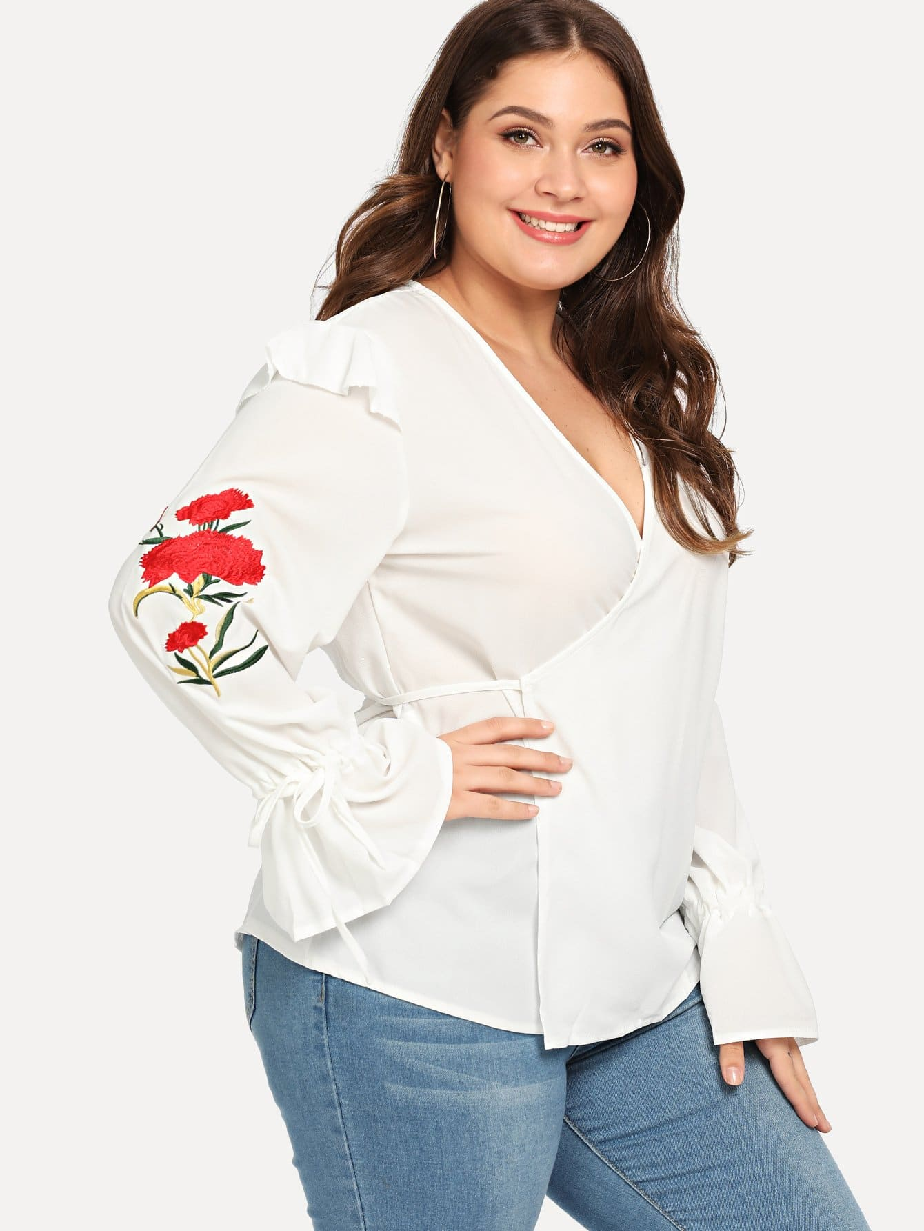 Plus Floral Embroidered Surplice Wrap Blouse brief plus size buttoned horizontal line pineapple embellished shirt for women