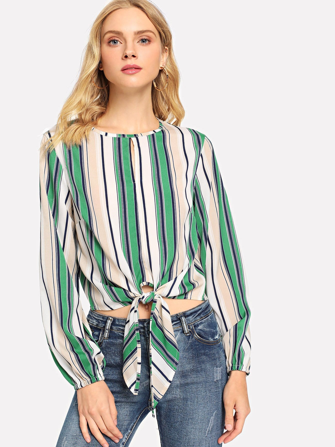 Knot Front Multi-Stripe Blouse