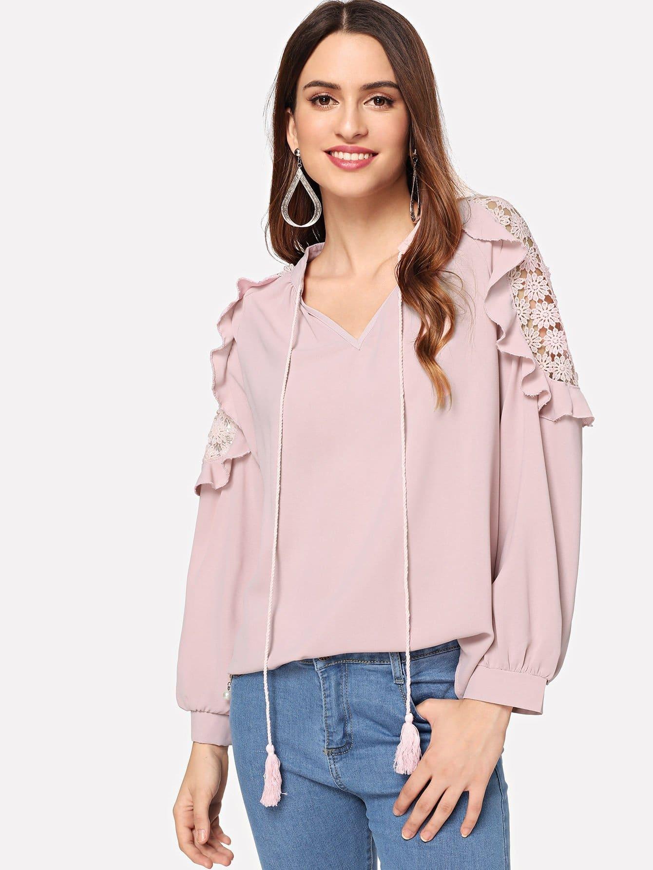 Купить Кружевная симметрическая рубашка с розеткой, Jana, SheIn