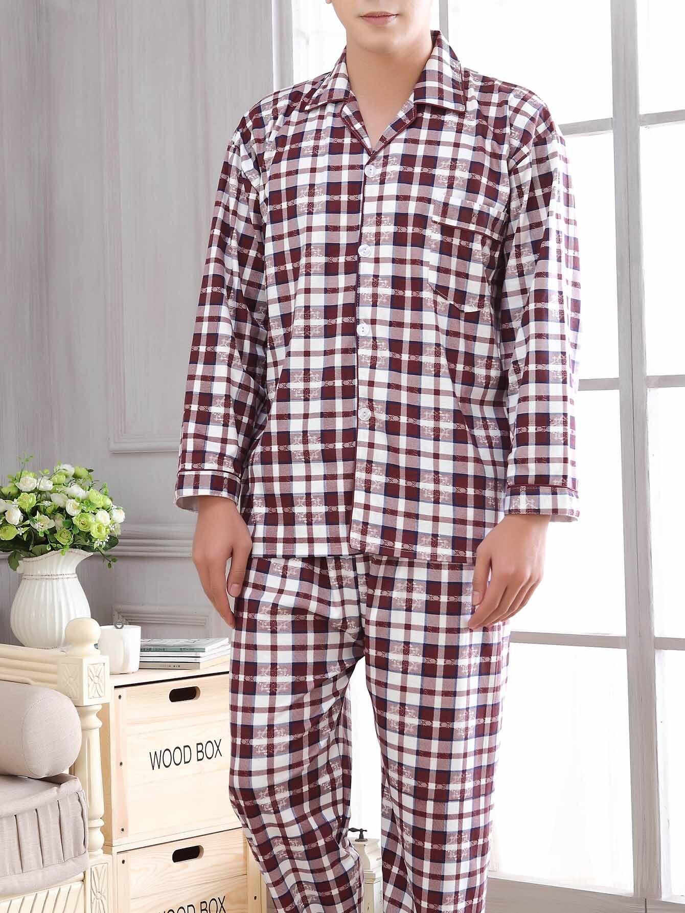 Men Plaid Button Up Pajama Set