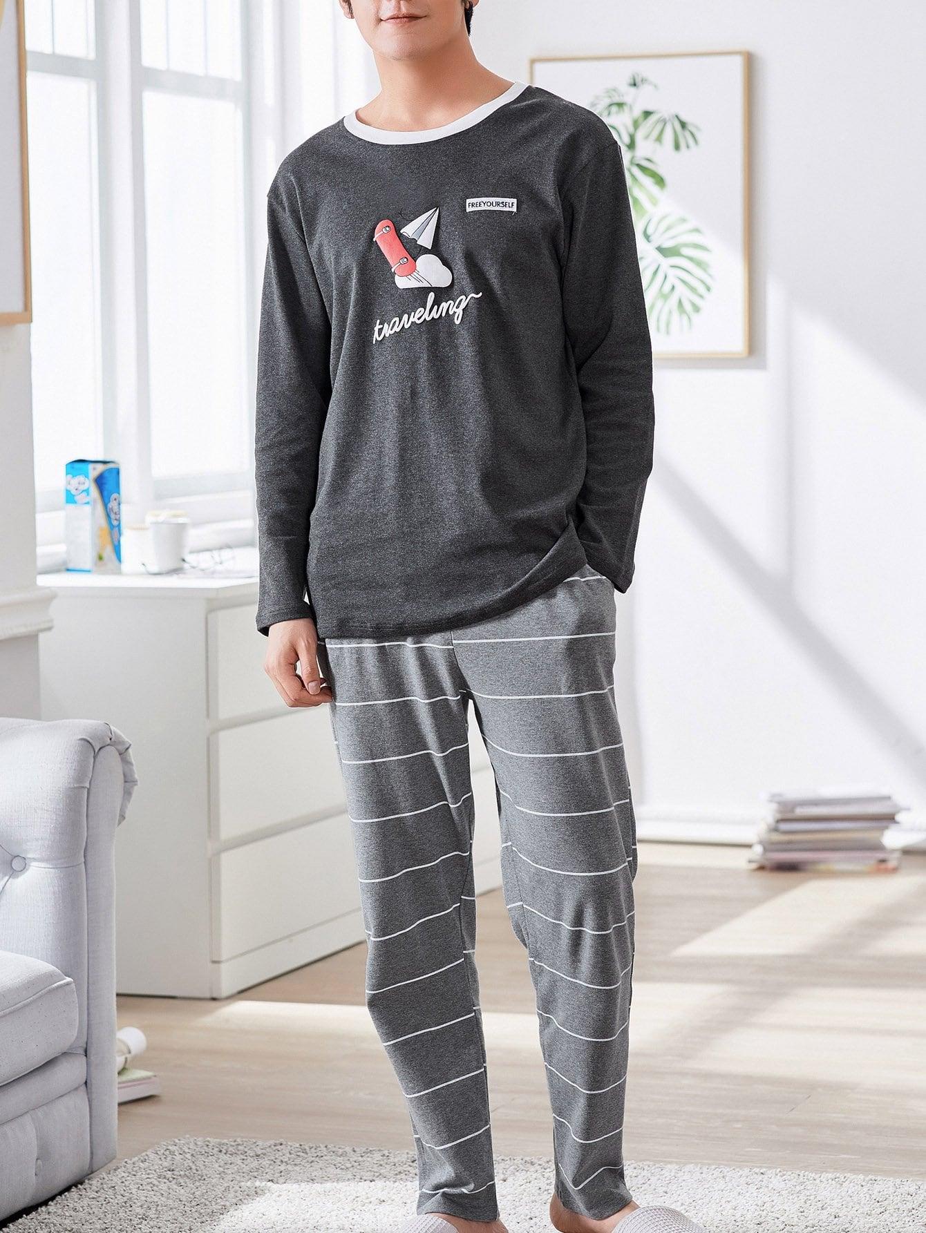 Комплект полосатой пижамы с рисунками мультипликаций для мужчины от SheIn