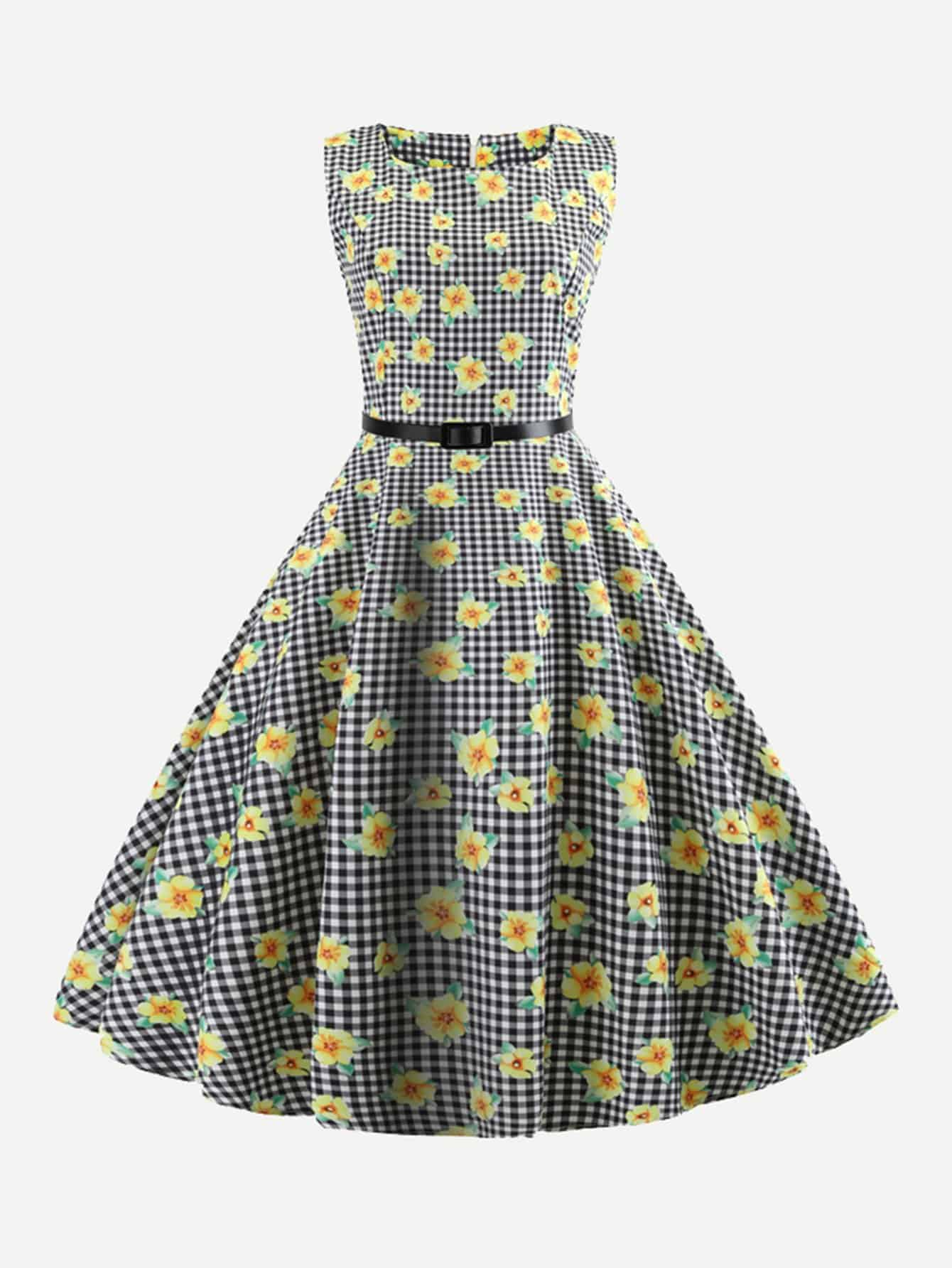 Plaid Floral Print Belted Flare Dress шпулька sturm gt3513p 24