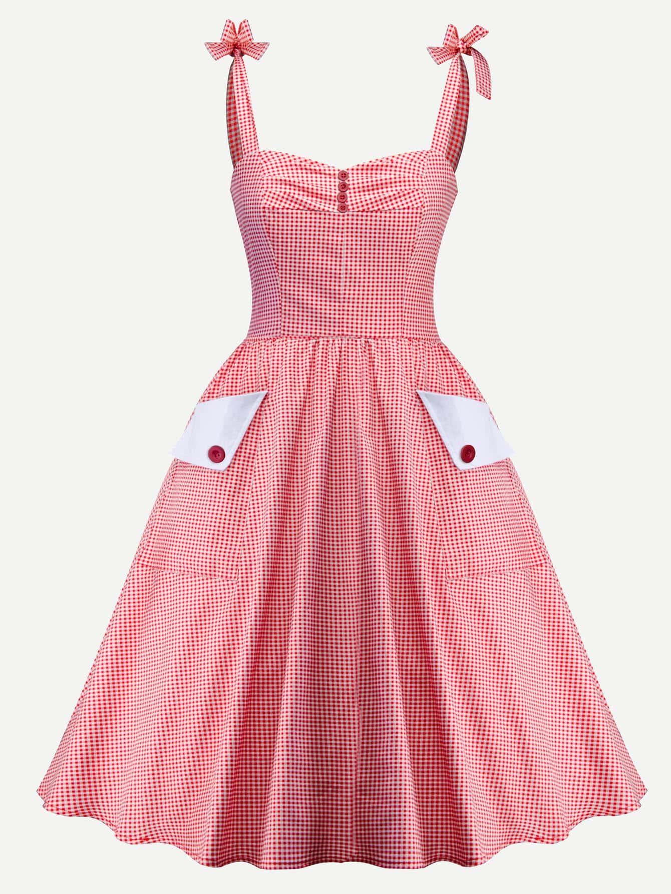 Купить Платье в клетку с украшением пуговицы, null, SheIn
