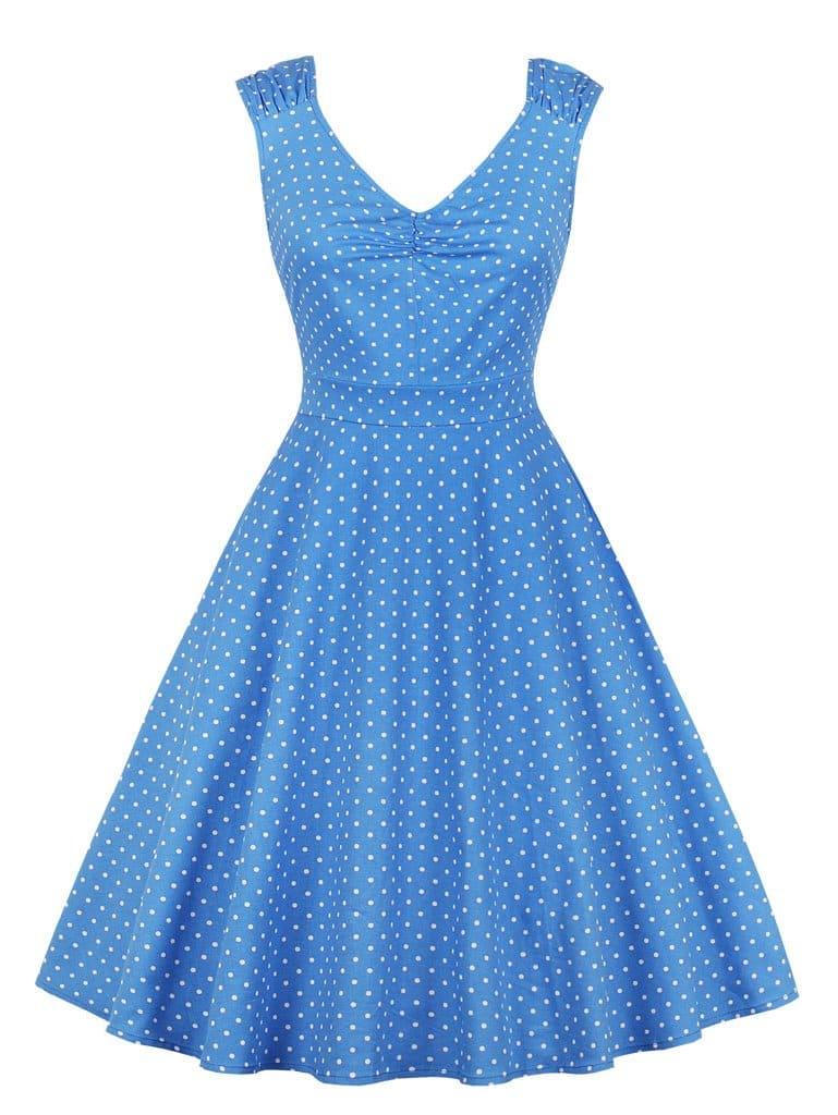 Купить Платье клёш с рисунками точки польки, null, SheIn