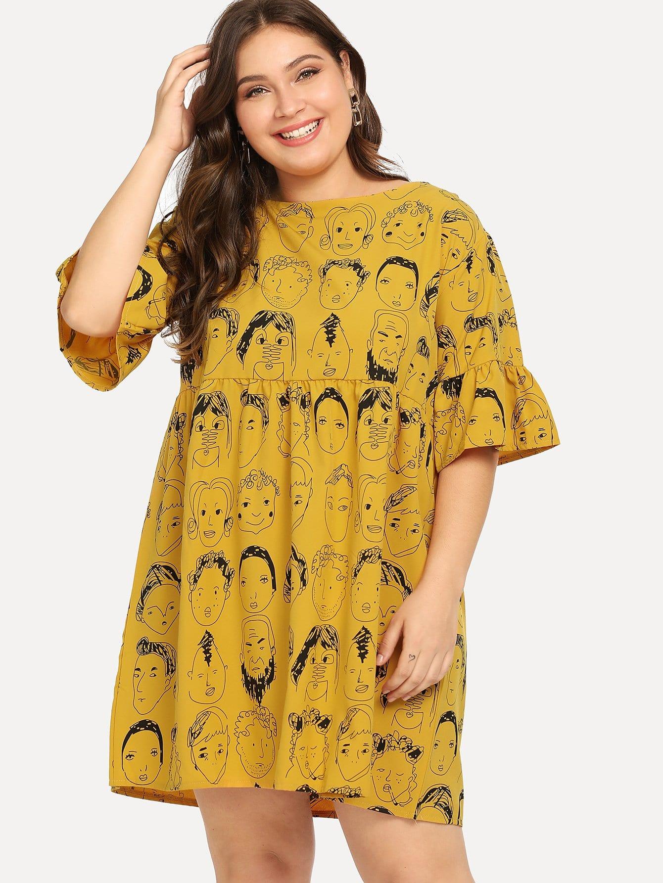 Übergroßes Kleid mit Figur Muster, Raffung auf den Ärmeln und Band hinten