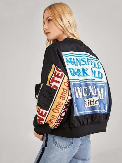 Letter Print Zip Side Bomber Jacket