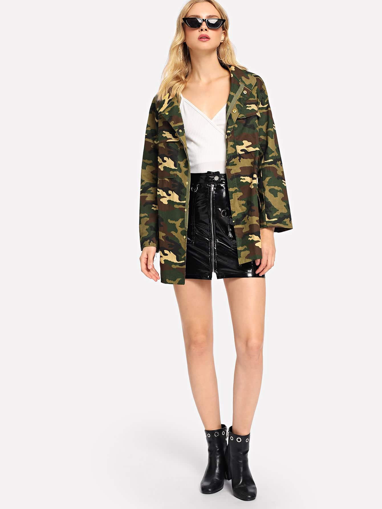 Camouflage Print Zip Front Jacket