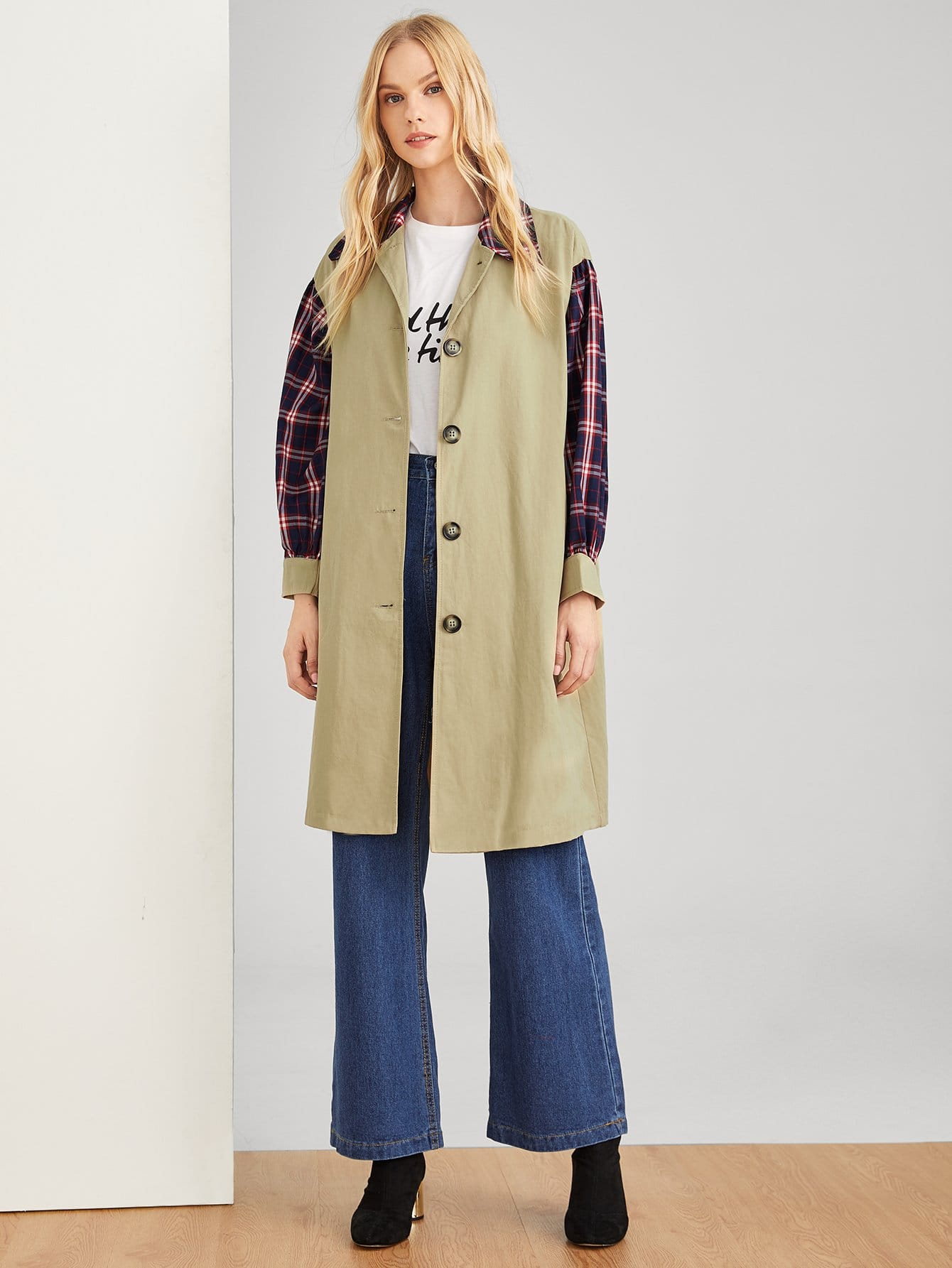 цена на Tartan Plaid Contrast Sleeve Coat