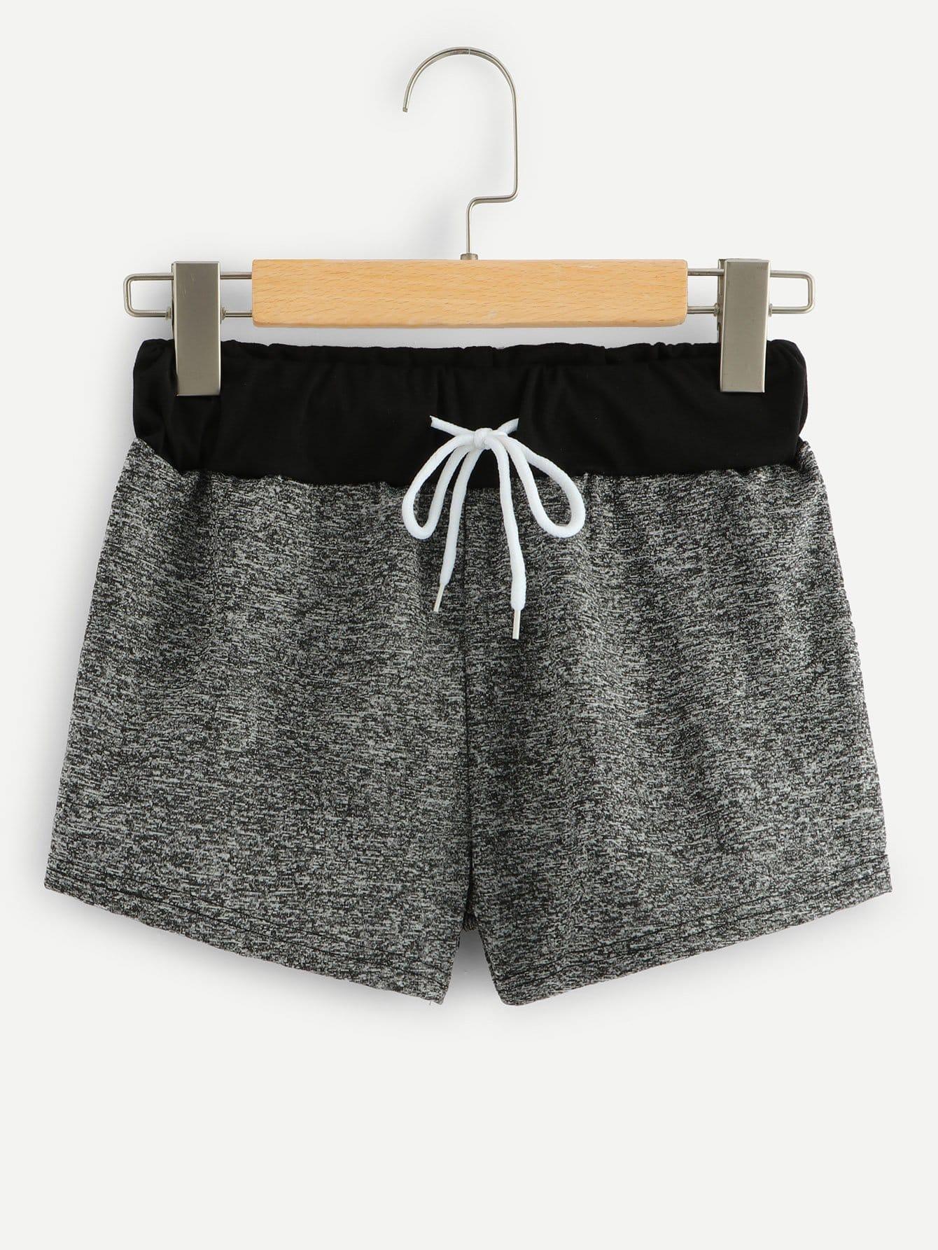 Контрастные шорты с басоном эластичным, null, SheIn  - купить со скидкой