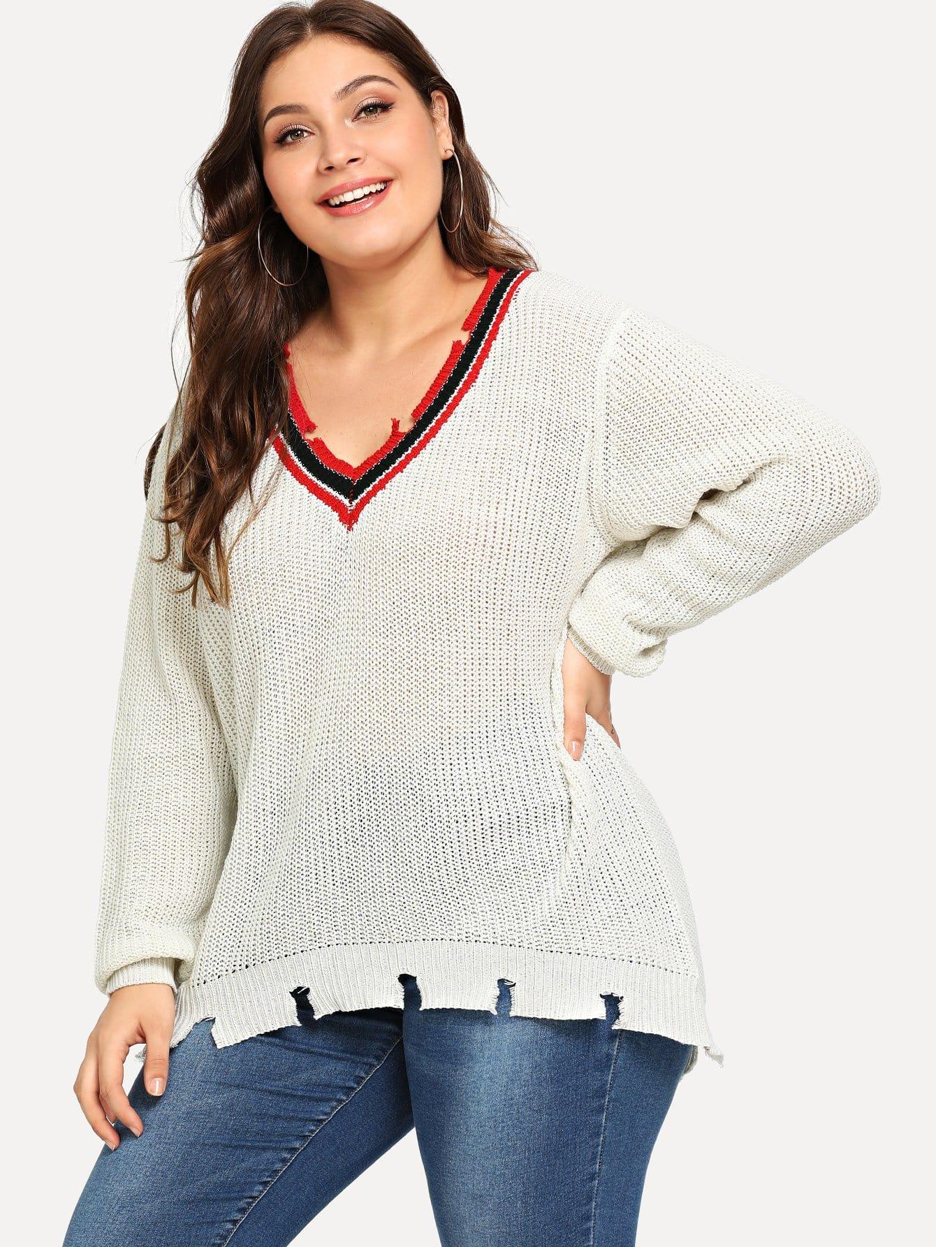 Plus Stripe Contrast Ripped Sweater