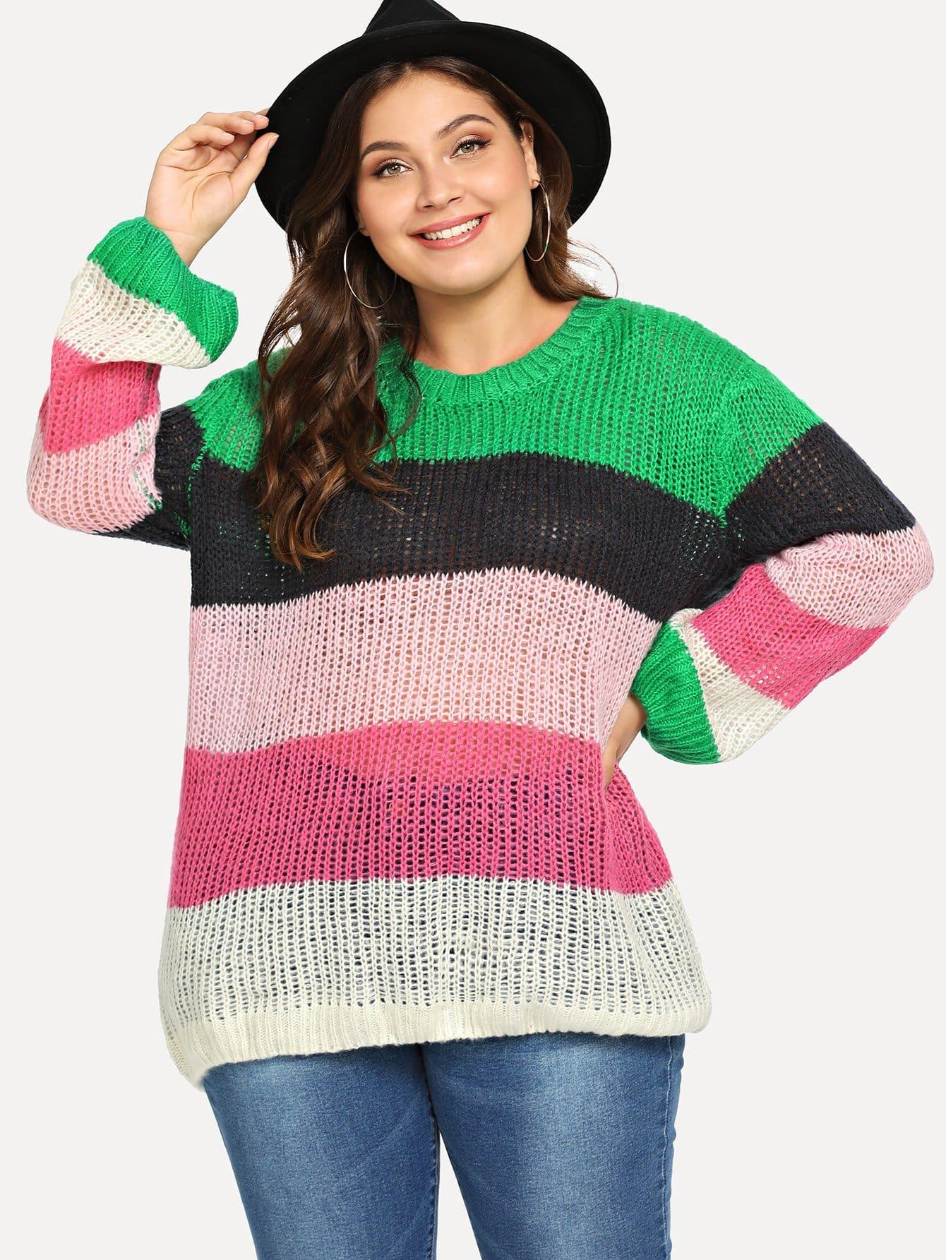Plus Block Stripe Drop Shoulder Sweater