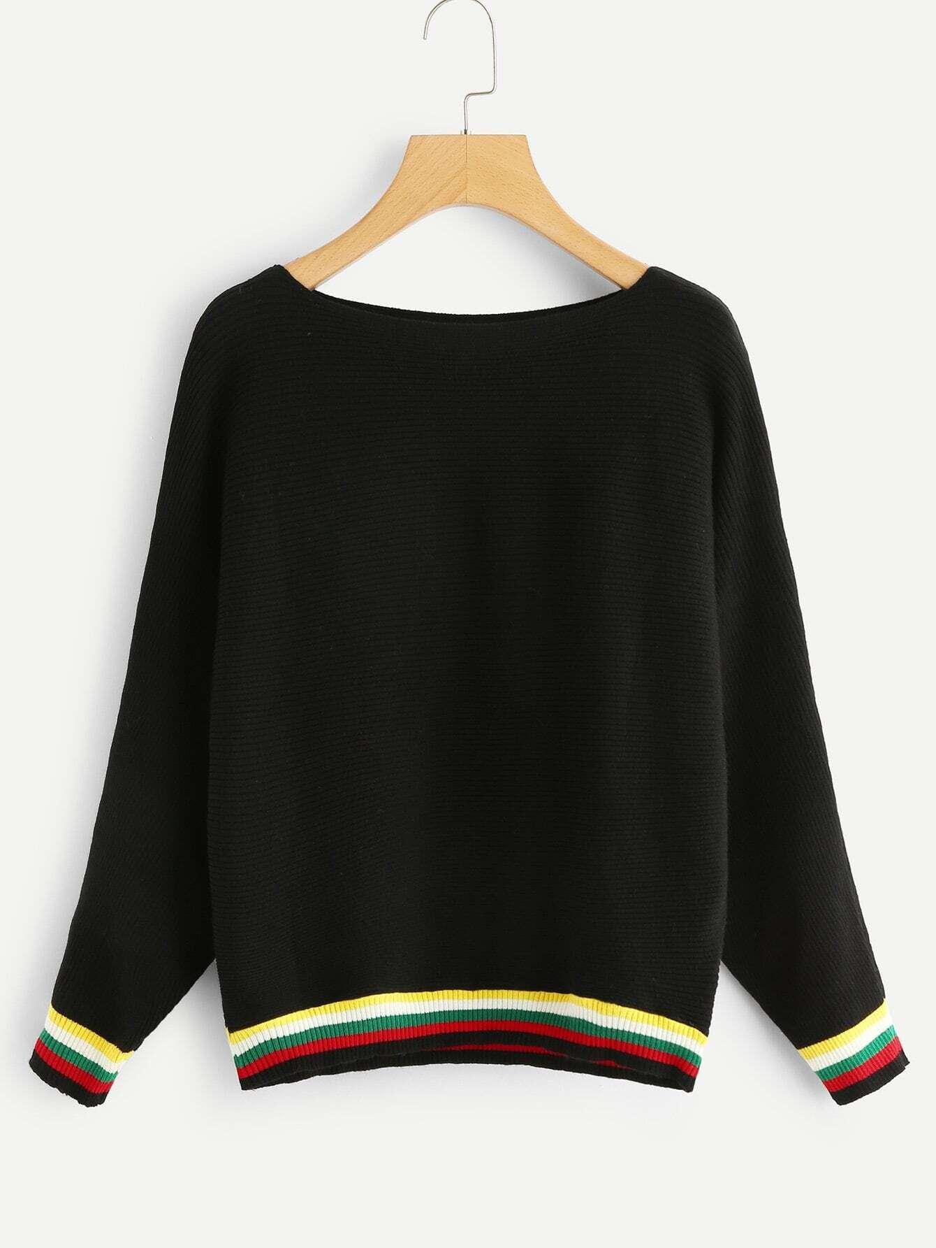 Stripe Contrast Trim Knit Sweater