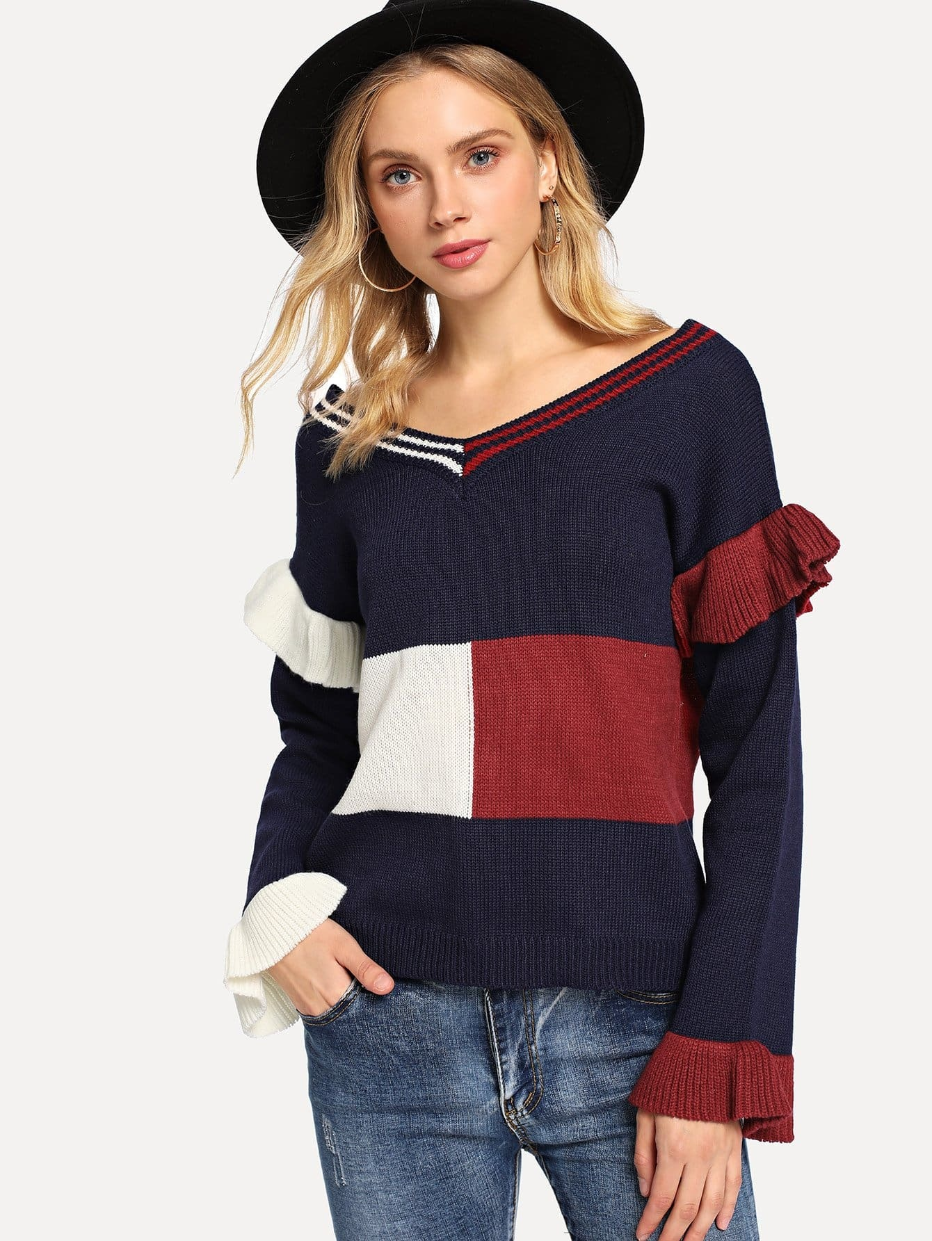 Color Block Ruffle Detail Sweater