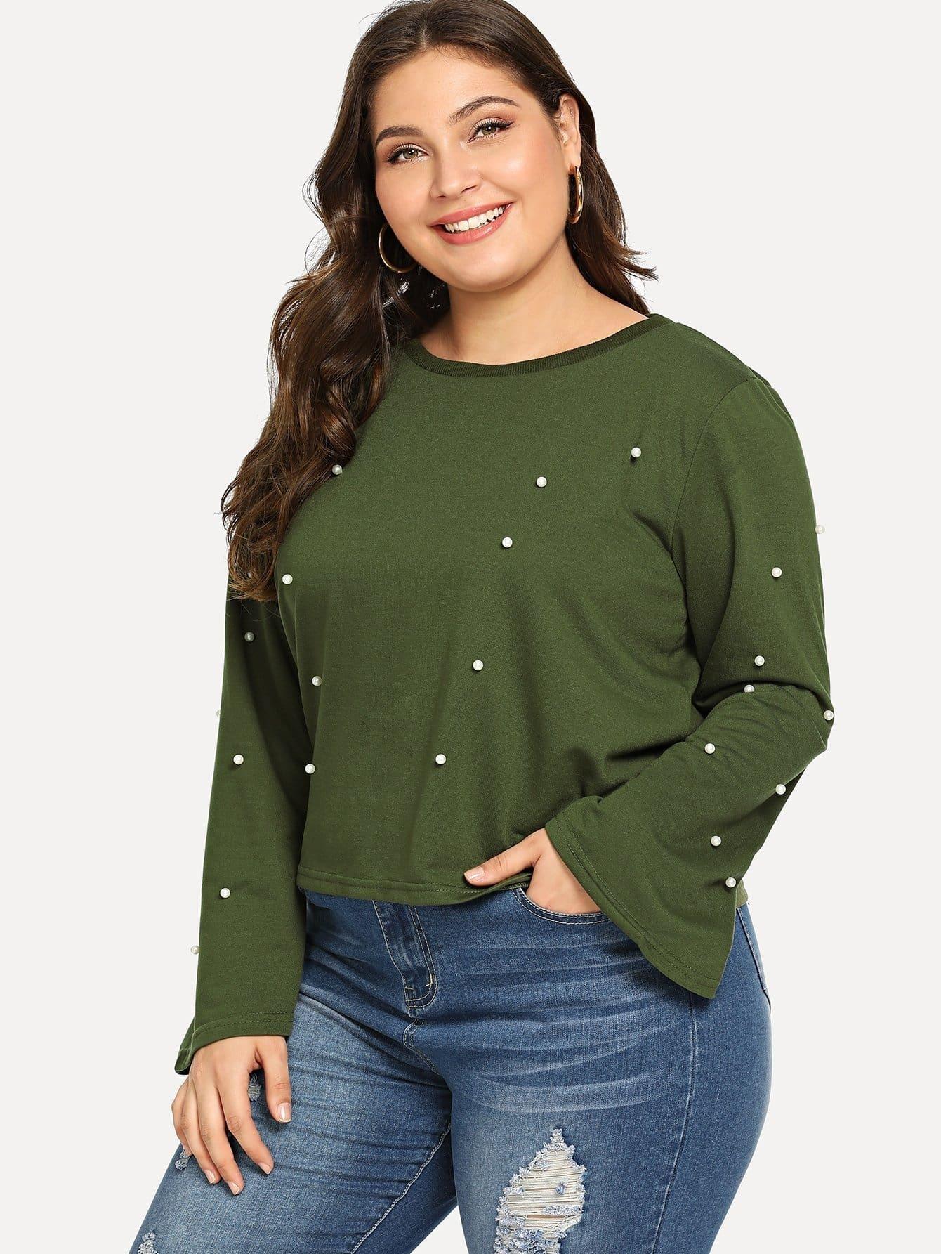 Übergroßes Sweatshirt mit Glockärmeln und Kunstperlen