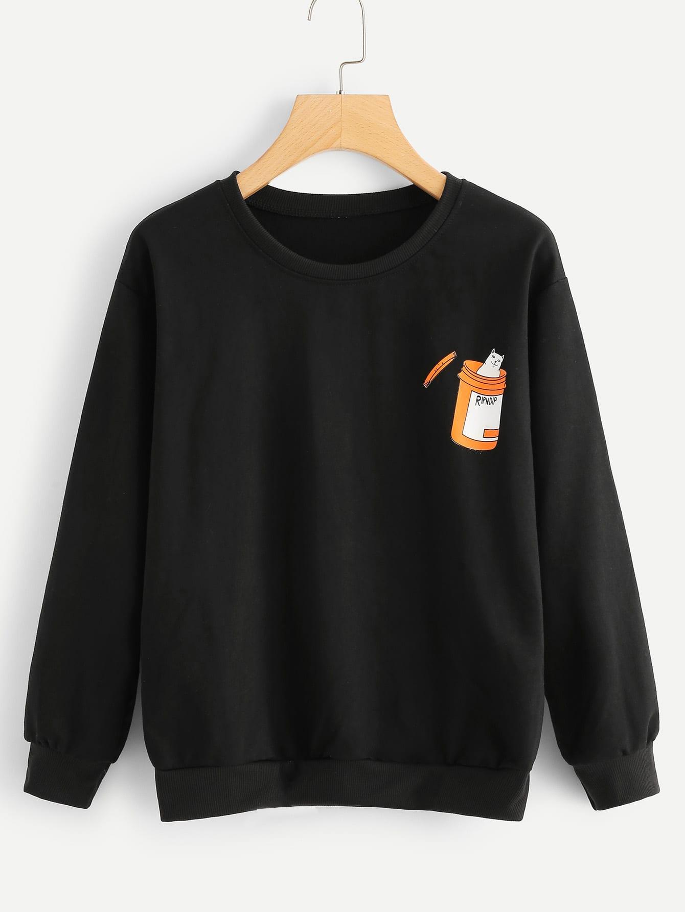 Купить Пуловер с рисунком кота, null, SheIn