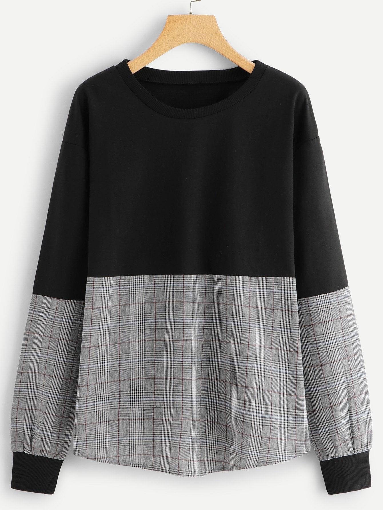 Tartan Plaid Contrast Sweatshirt