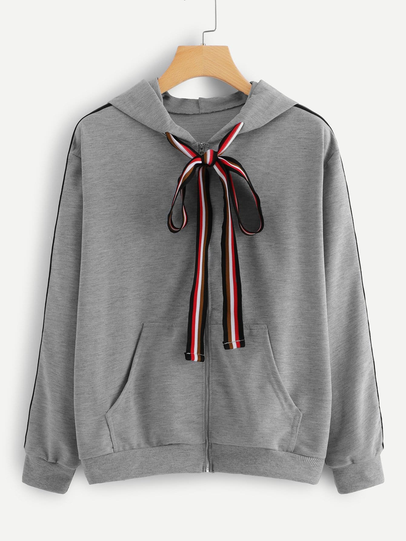 Kangaroo Pocket Drawstring Hooded Jacket