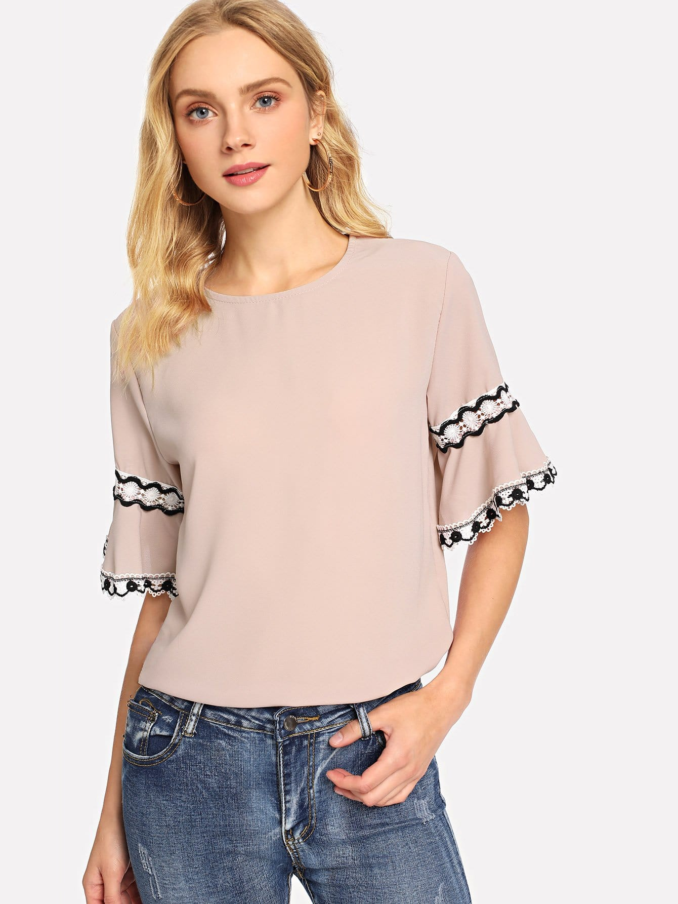 Купить Рубашка со симметрическими кружевами и рукава с розеткой, Nedab, SheIn