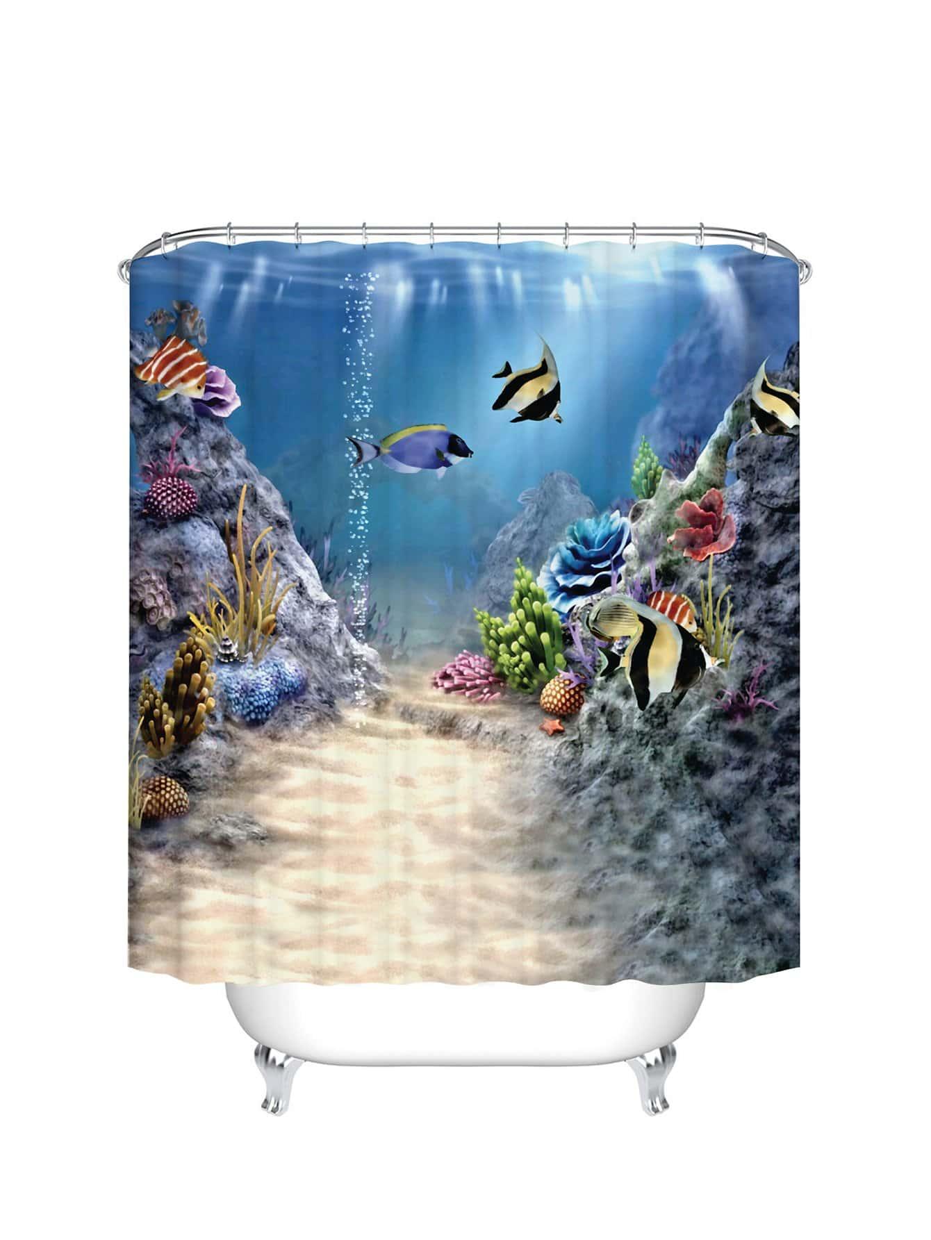 Ocean Pattern Duschvorhang 1pc mit Haken 12pcs